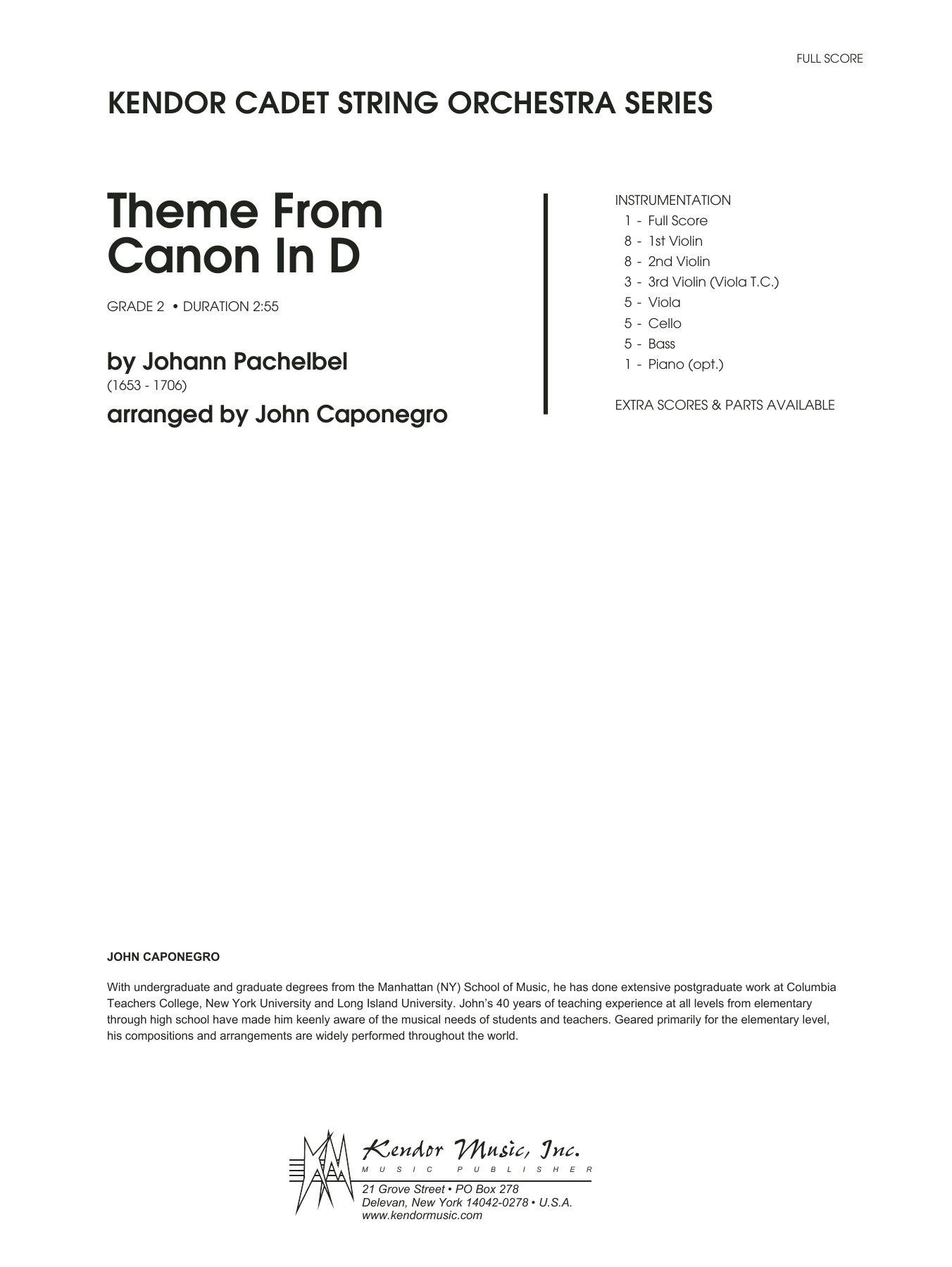 Theme From Canon In D (COMPLETE) sheet music for orchestra by Johann Pachelbel and John Caponegro. Score Image Preview.