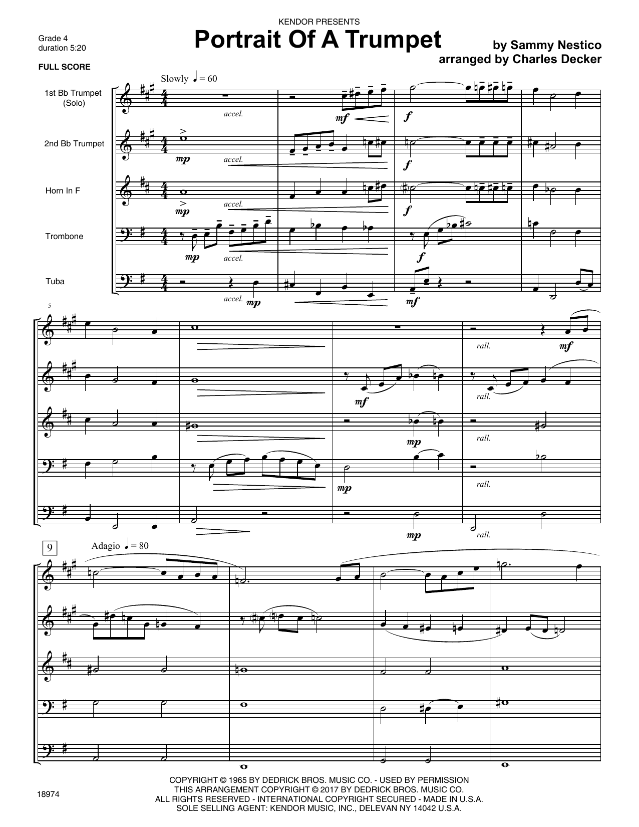 Portrait Of A Trumpet (COMPLETE) sheet music for brass quintet by Sammy Nestico, Charles Decker and Denis DiBlasio. Score Image Preview.