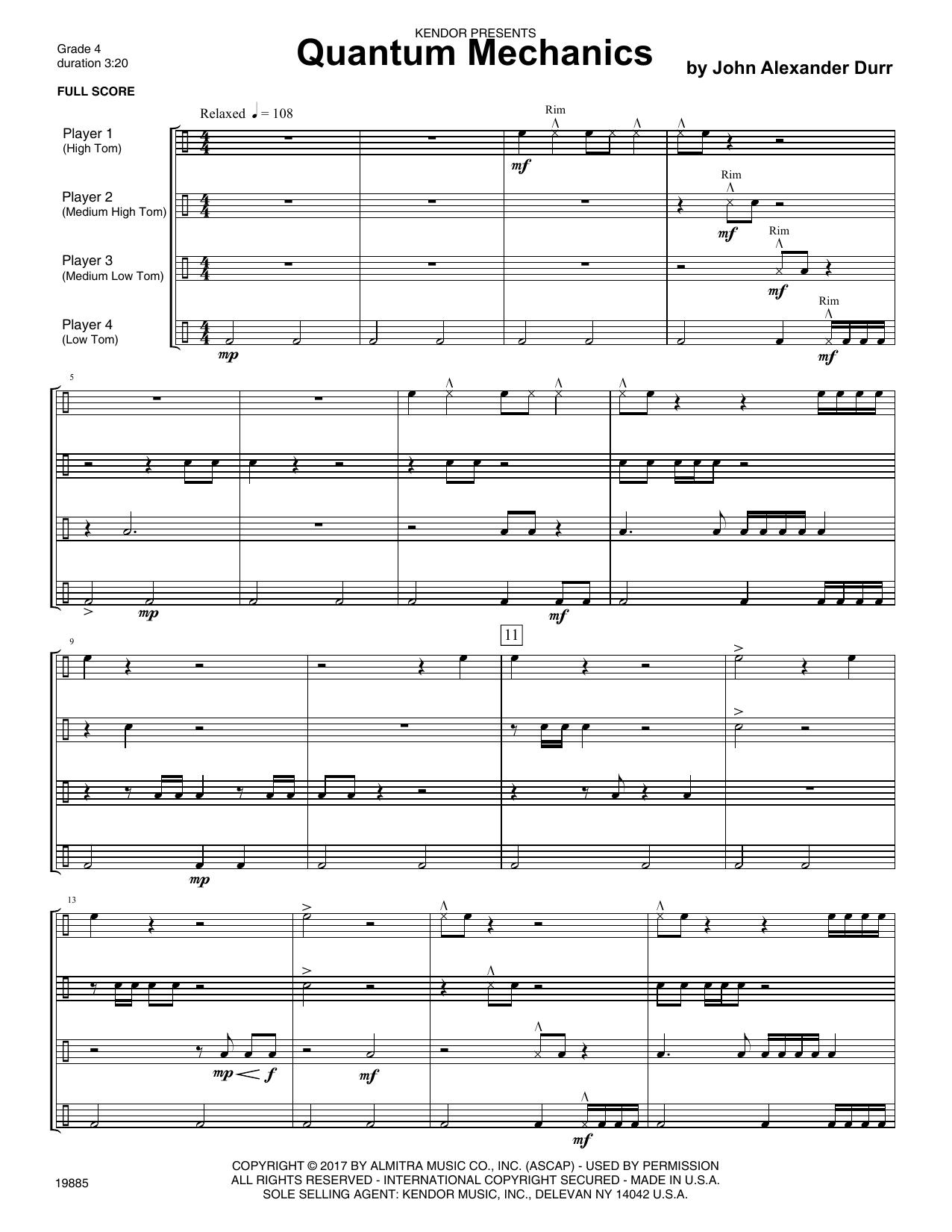 Quantum Mechanics (COMPLETE) sheet music for percussions by John Alexander Durr. Score Image Preview.