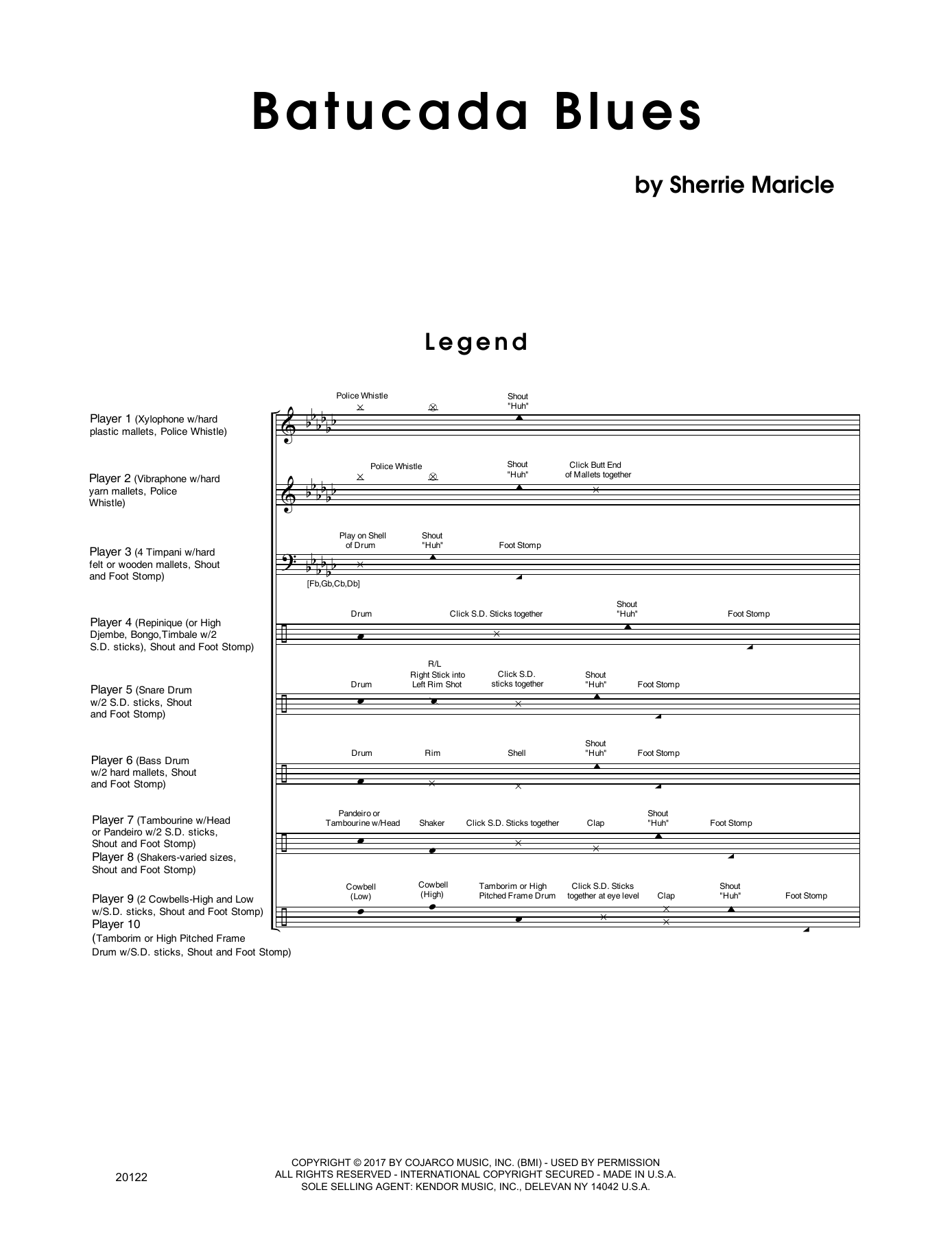 Batucada Blues (COMPLETE) sheet music for percussions by Sherrie Maricle. Score Image Preview.