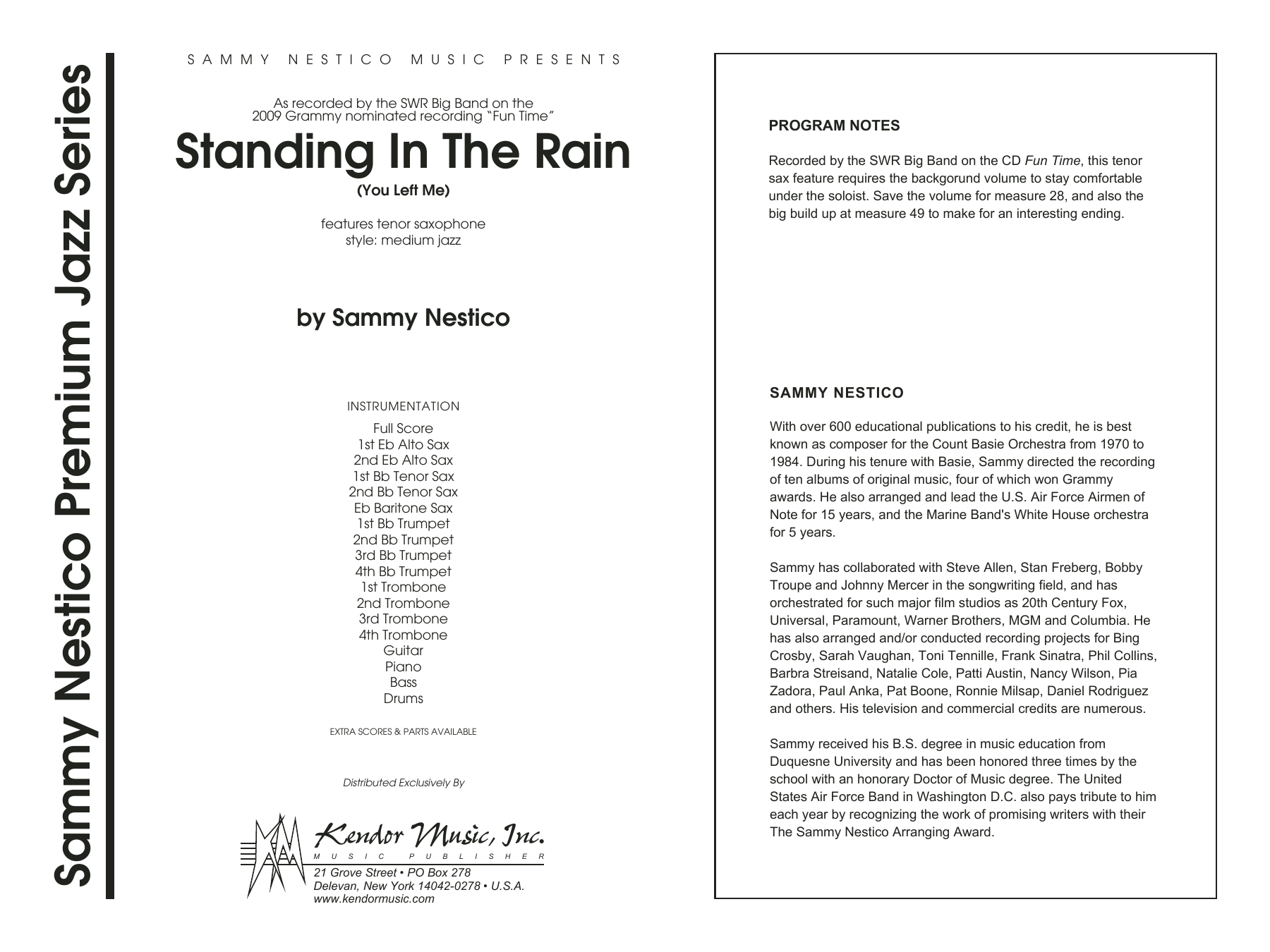 Standing In The Rain (You Left Me) (COMPLETE) sheet music for jazz band by Sammy Nestico. Score Image Preview.