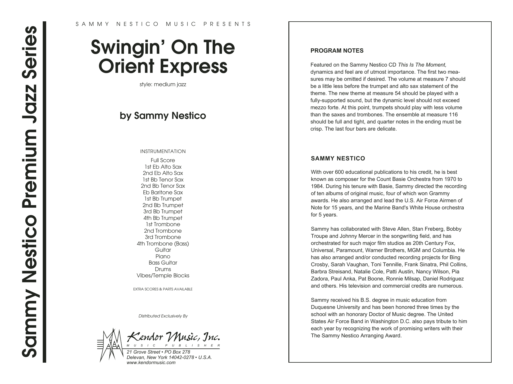 Swingin' On The Orient Express (COMPLETE) sheet music for jazz band by Sammy Nestico. Score Image Preview.
