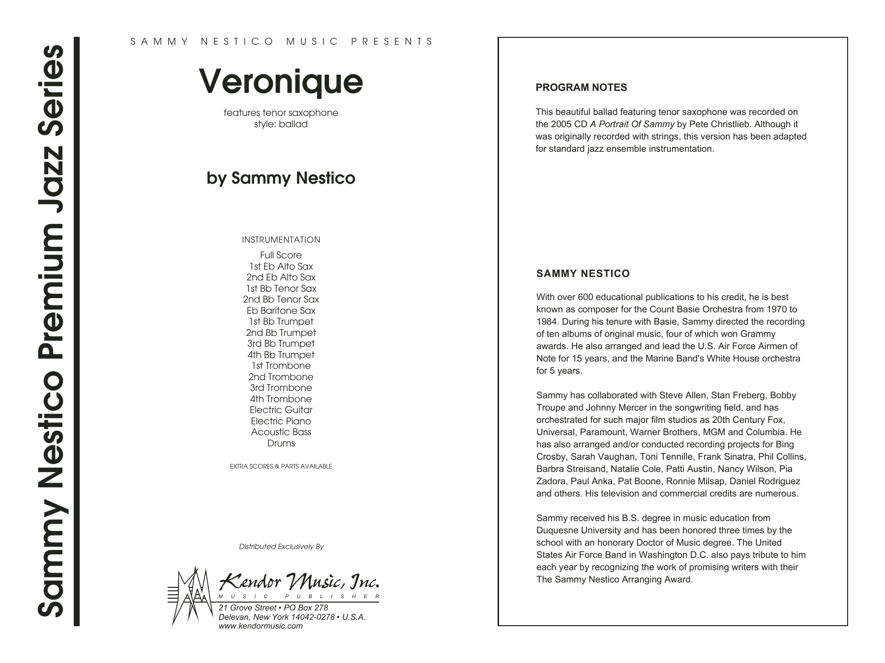 Veronique (COMPLETE) sheet music for jazz band by Sammy Nestico. Score Image Preview.
