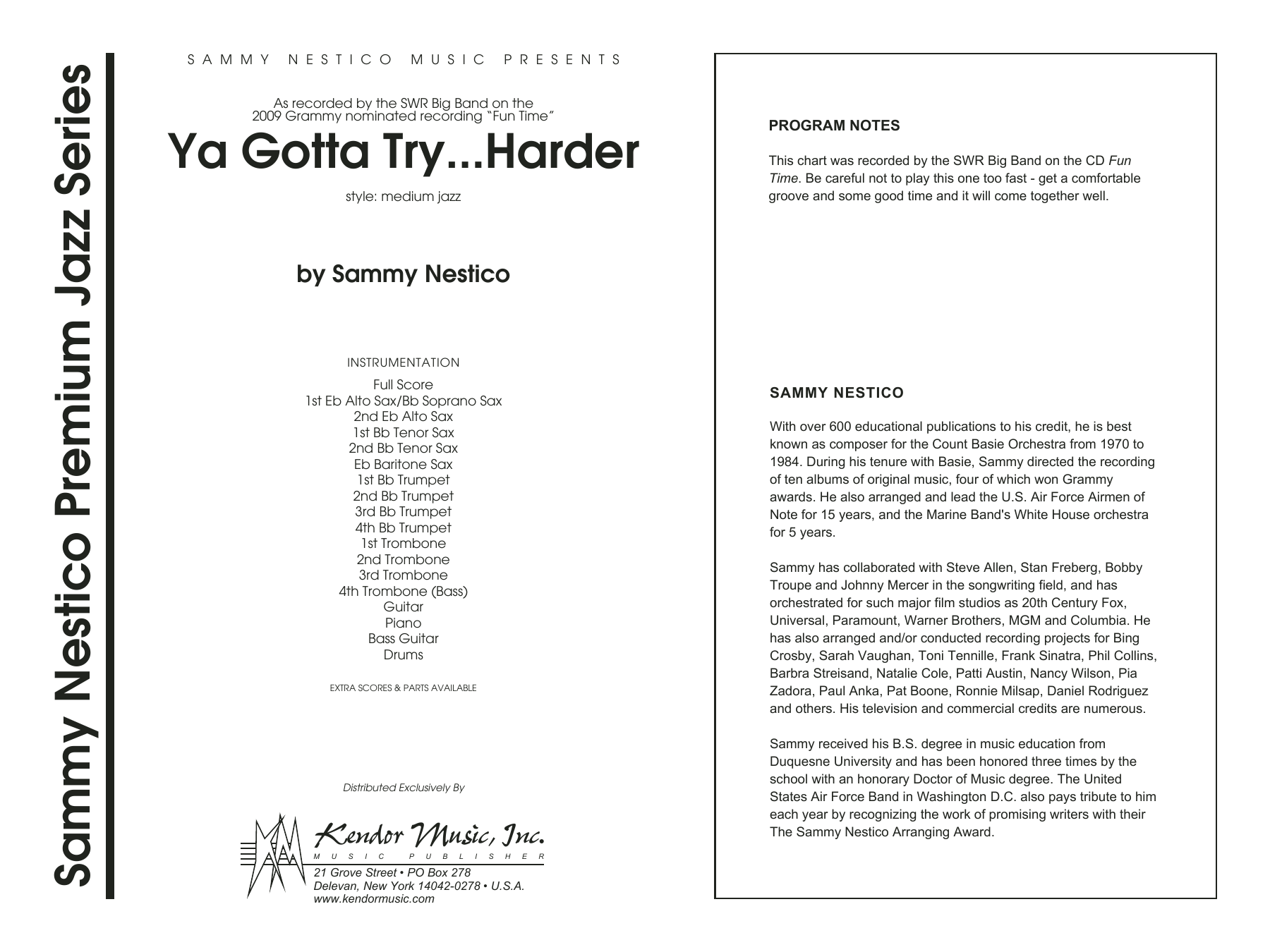 Ya Gotta Try...Harder (COMPLETE) sheet music for jazz band by Sammy Nestico. Score Image Preview.