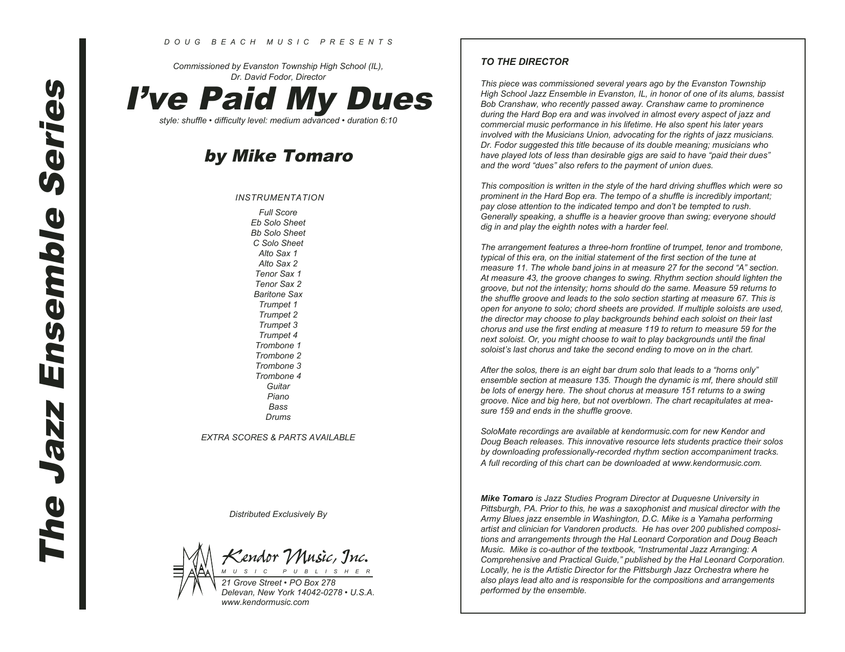 I've Paid My Dues (COMPLETE) sheet music for jazz band by Mike Tomaro. Score Image Preview.