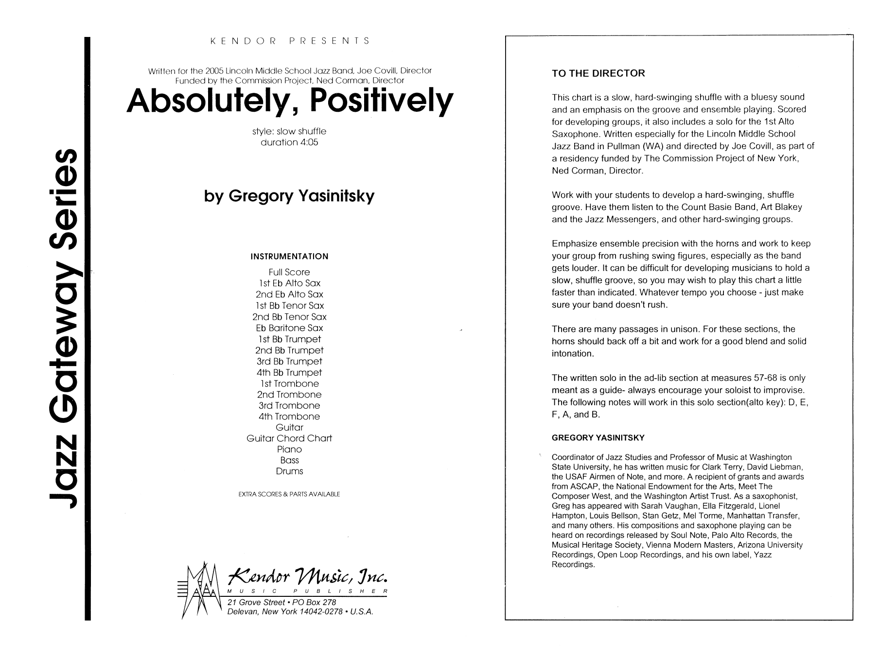 Absolutely, Positively (COMPLETE) sheet music for jazz band by Gregory Yasinitsky. Score Image Preview.