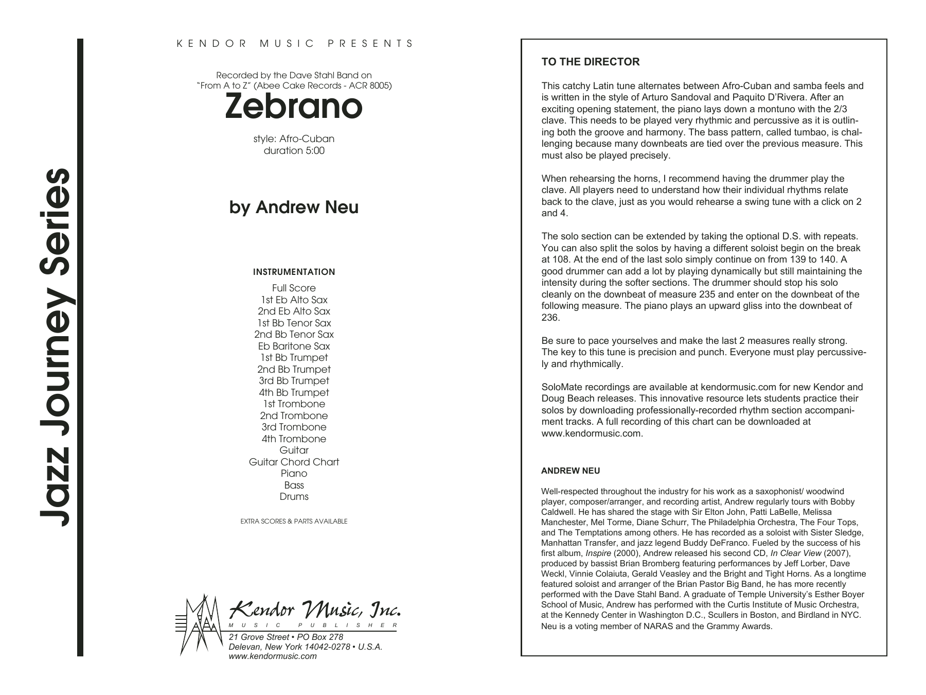 Zebrano (COMPLETE) sheet music for jazz band by Andrew Neu. Score Image Preview.