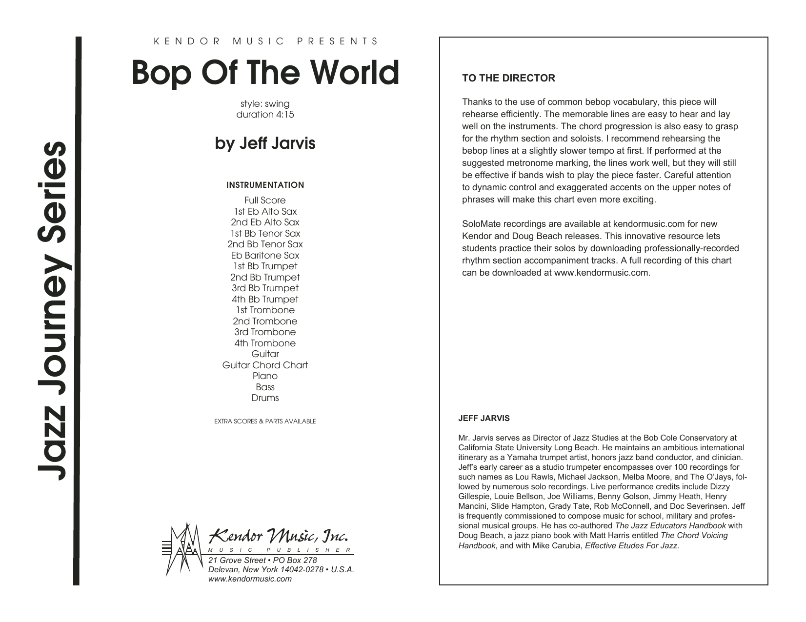 Bop Of The World (COMPLETE) sheet music for jazz band by Jeff Jarvis. Score Image Preview.