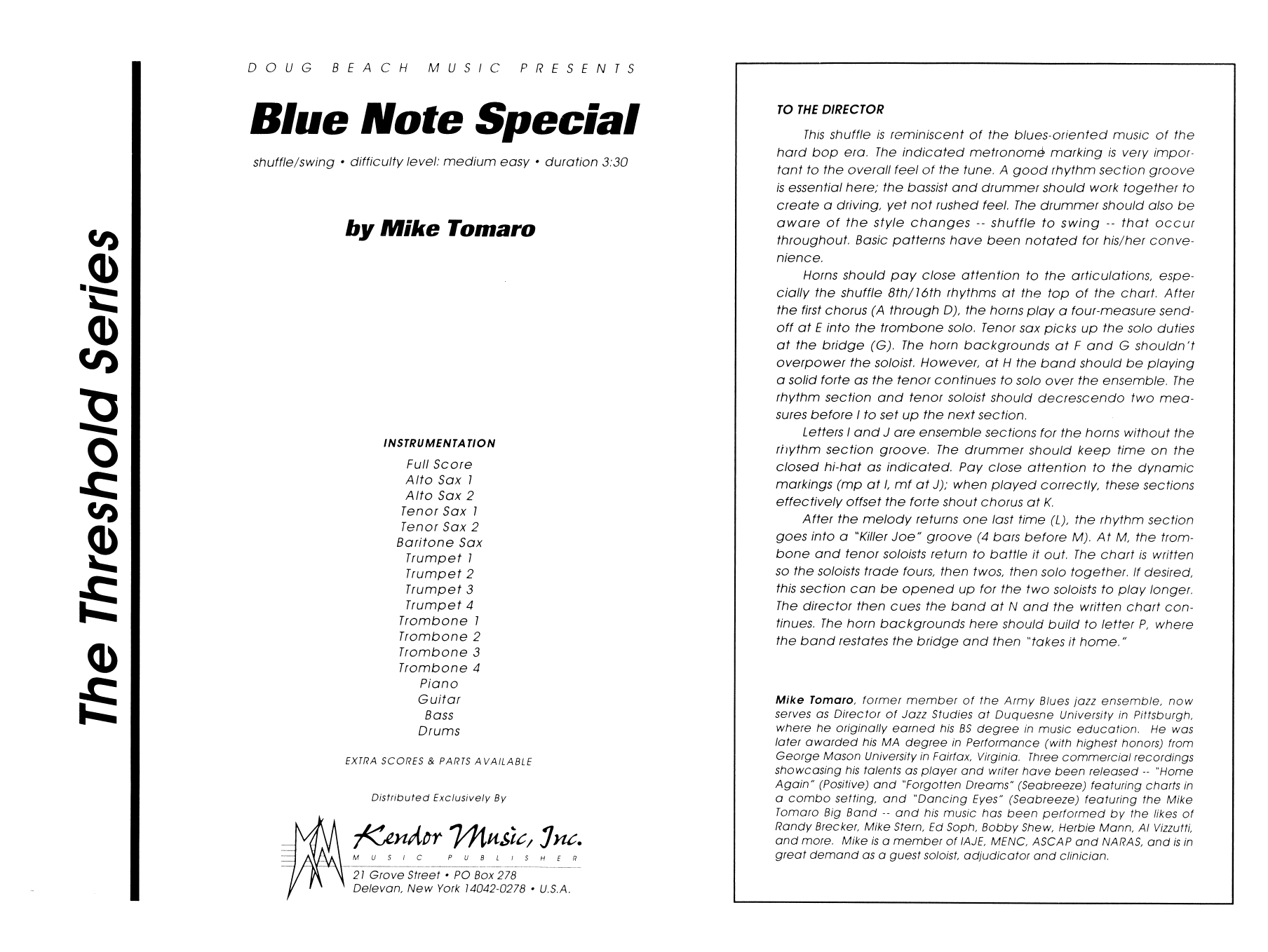 Blue Note Special (COMPLETE) sheet music for jazz band by Mike Tomaro. Score Image Preview.