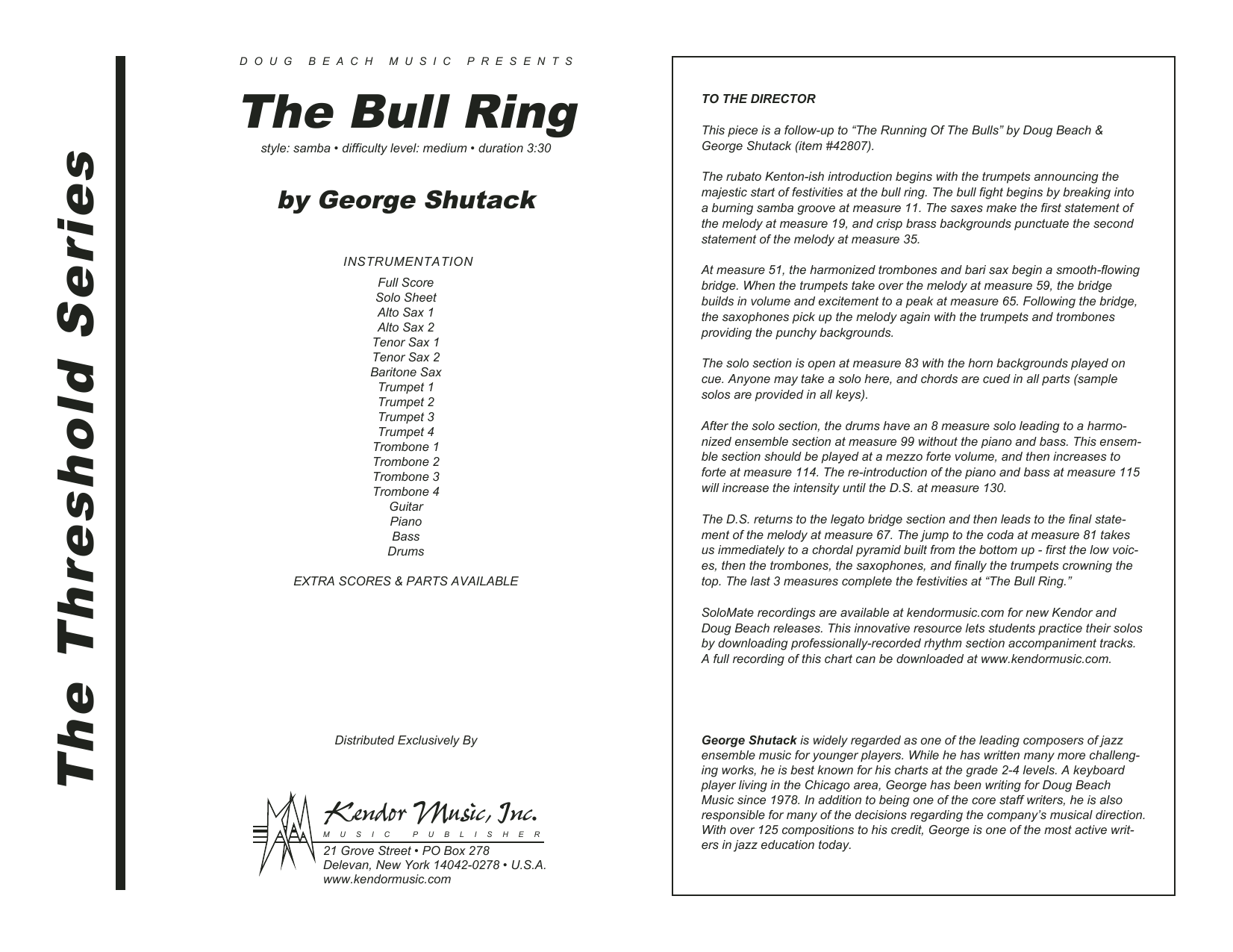 The Bull Ring (COMPLETE) sheet music for jazz band by George Shutack. Score Image Preview.
