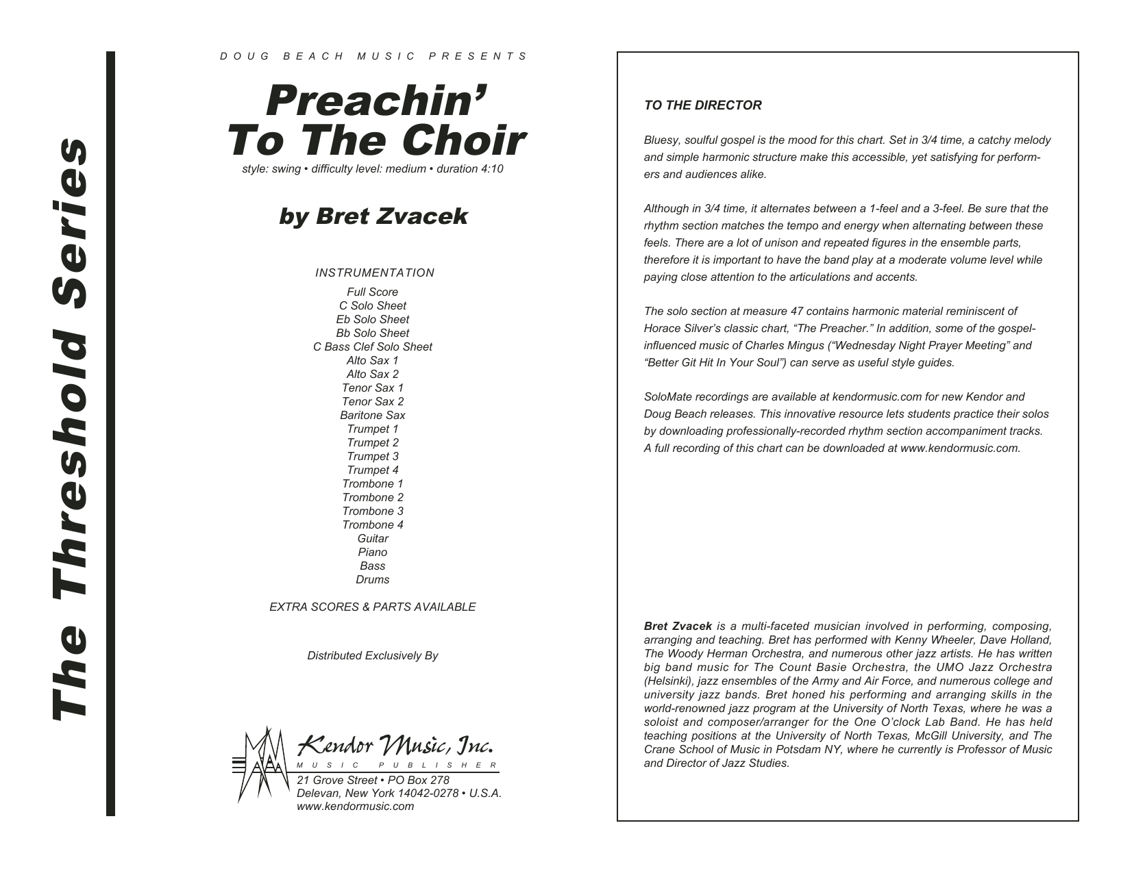 Preachin' To The Choir (COMPLETE) sheet music for jazz band by Bret Zvacek. Score Image Preview.