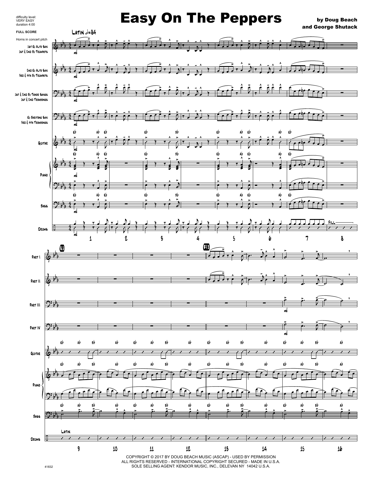 Easy On The Peppers (COMPLETE) sheet music for jazz band by Doug Beach & George Shutack. Score Image Preview.