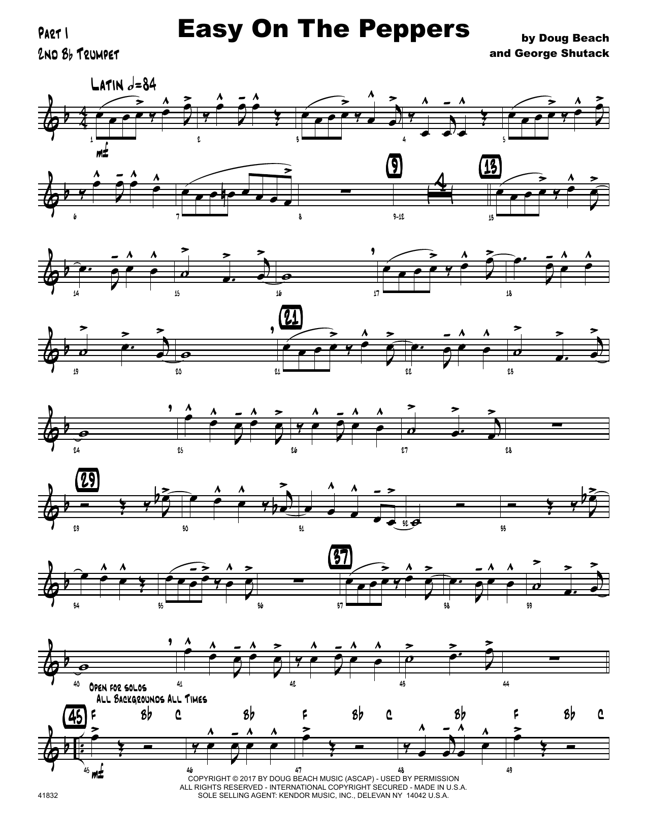 Easy On The Peppers - 2nd Bb Trumpet by Doug Beach & George Shutack Jazz  Ensemble Digital Sheet Music