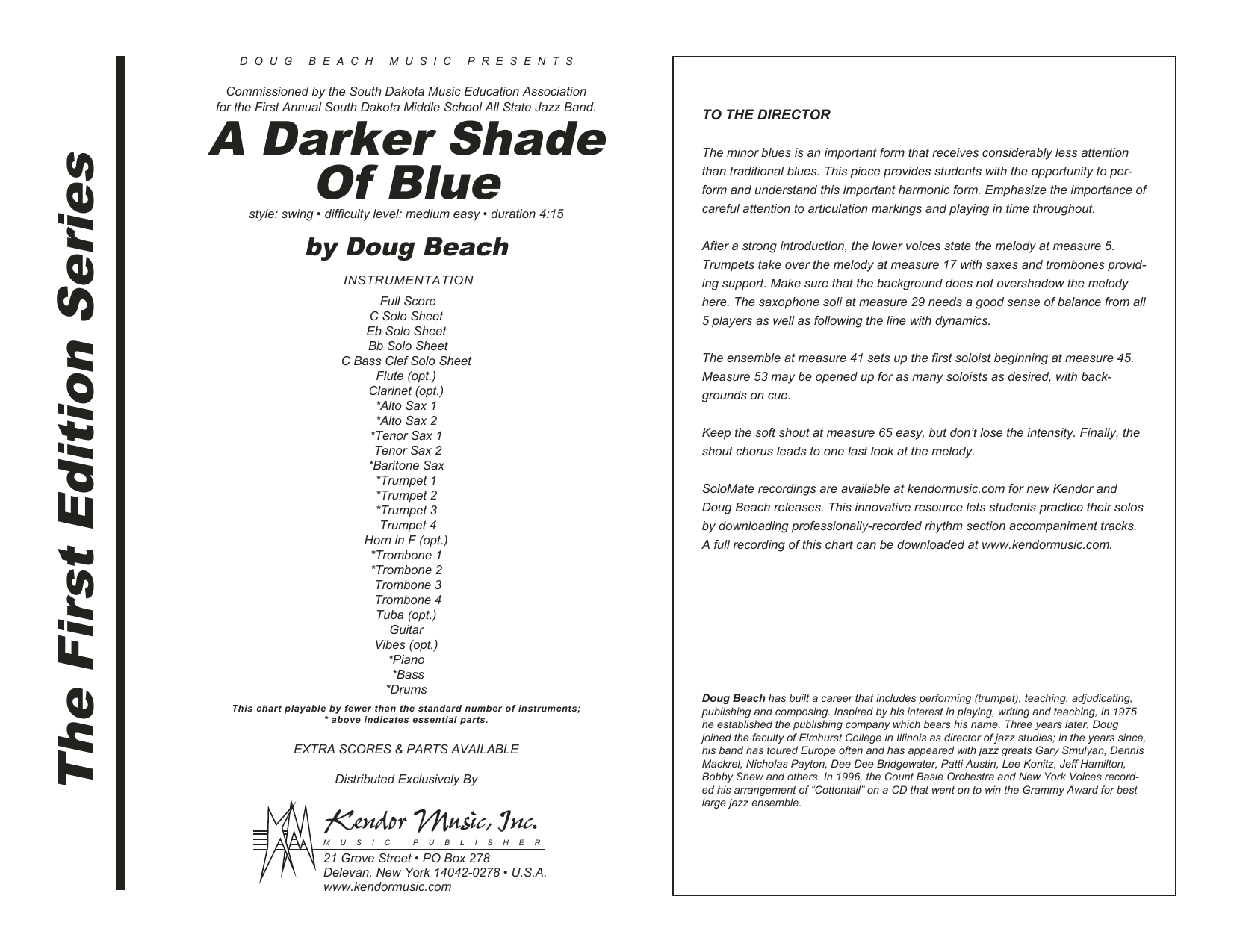 A Darker Shade Of Blue (COMPLETE) sheet music for jazz band by Doug Beach. Score Image Preview.