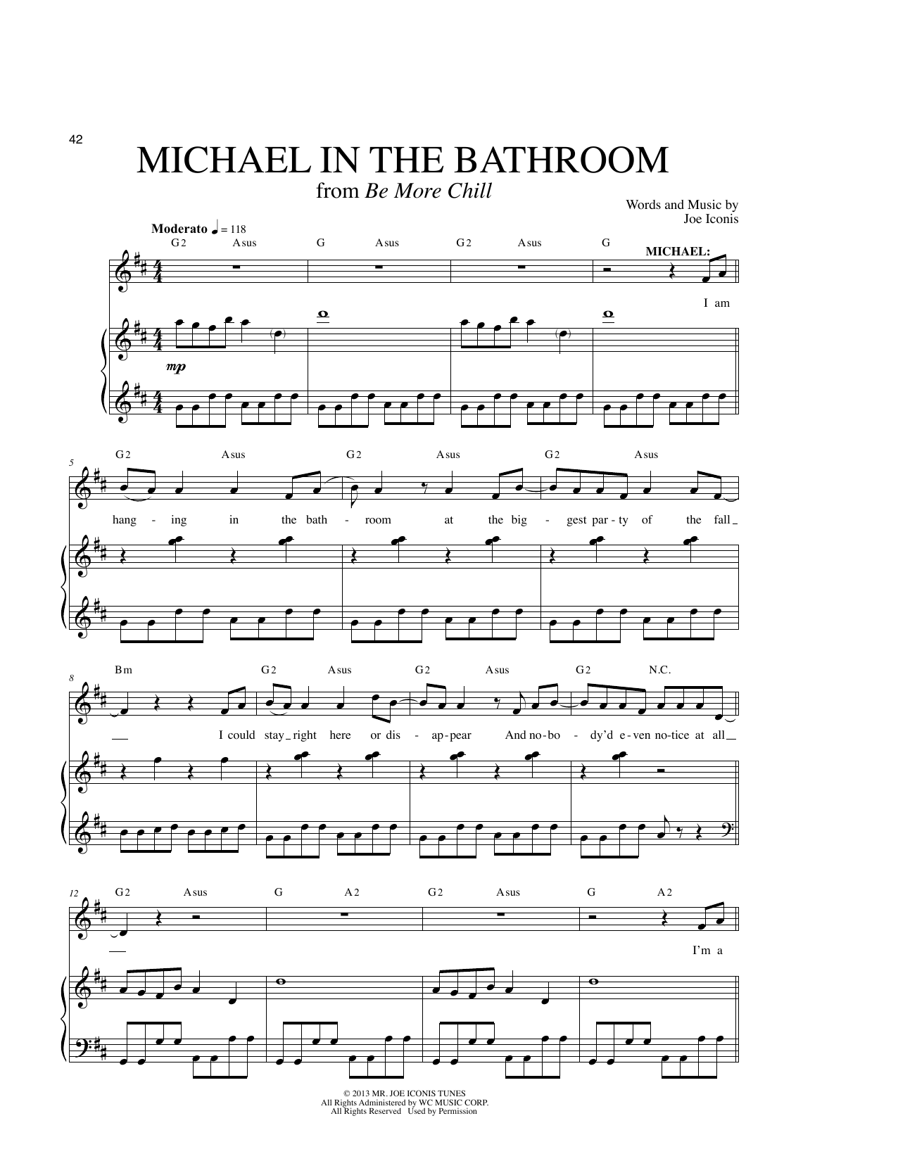 michael in the bathroom sheet music by joe iconis piano