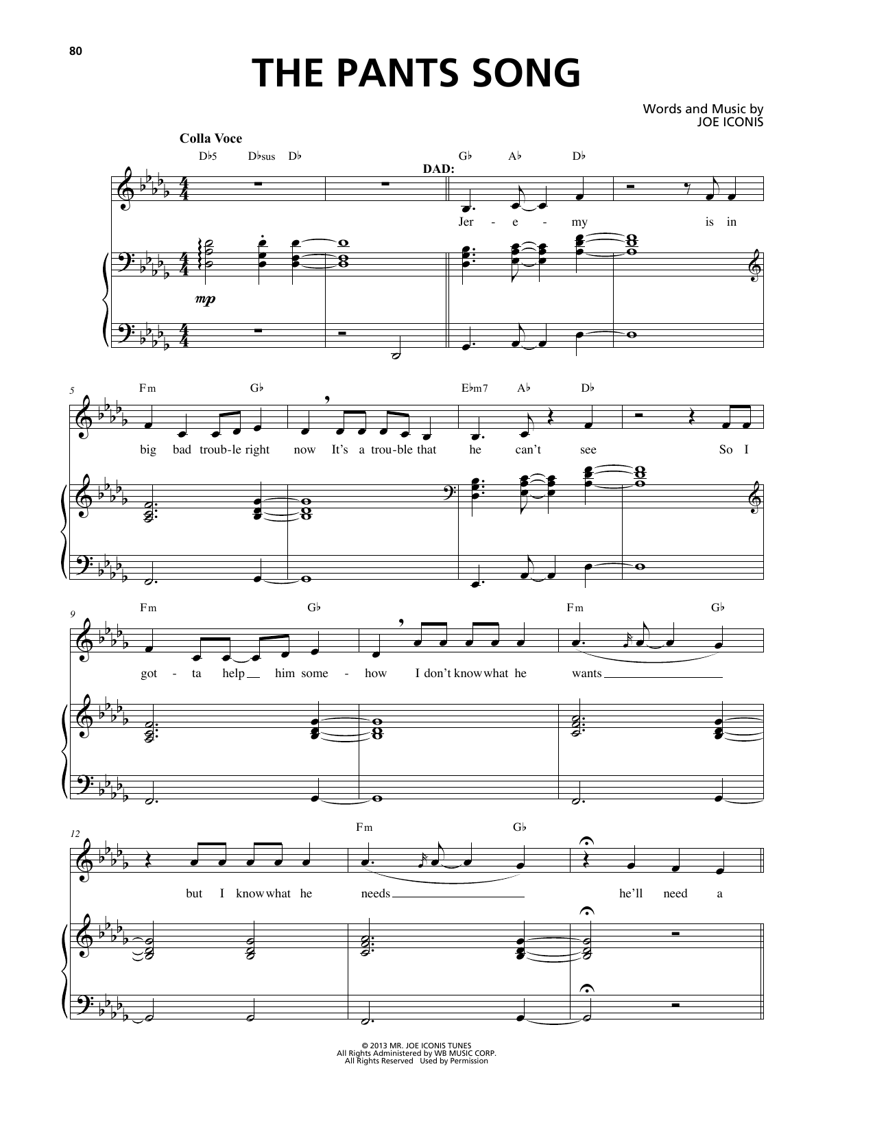 The Pants Song (from Be More Chill) by Joe Iconis Piano & Vocal Digital  Sheet Music