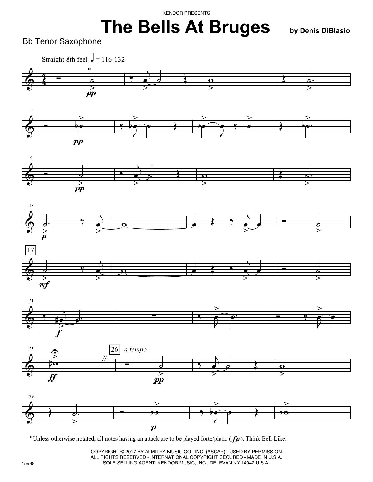 The Bells At Bruges - Bb Tenor Saxophone by Denis DiBlasio Woodwind  Ensemble Digital Sheet Music