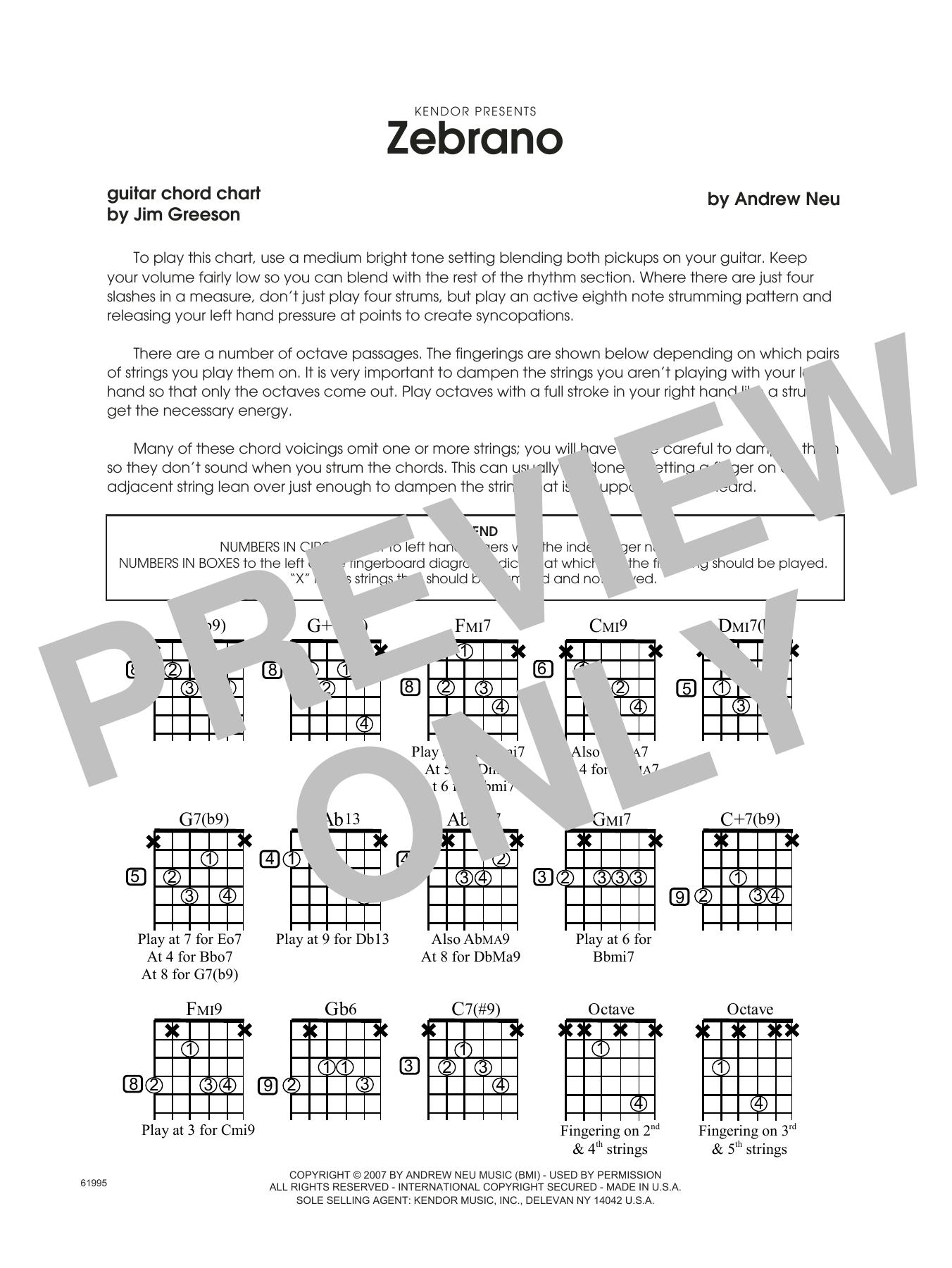 Zebrano Guitar Chord Chart Sheet Music By Andrew Neu Jazz