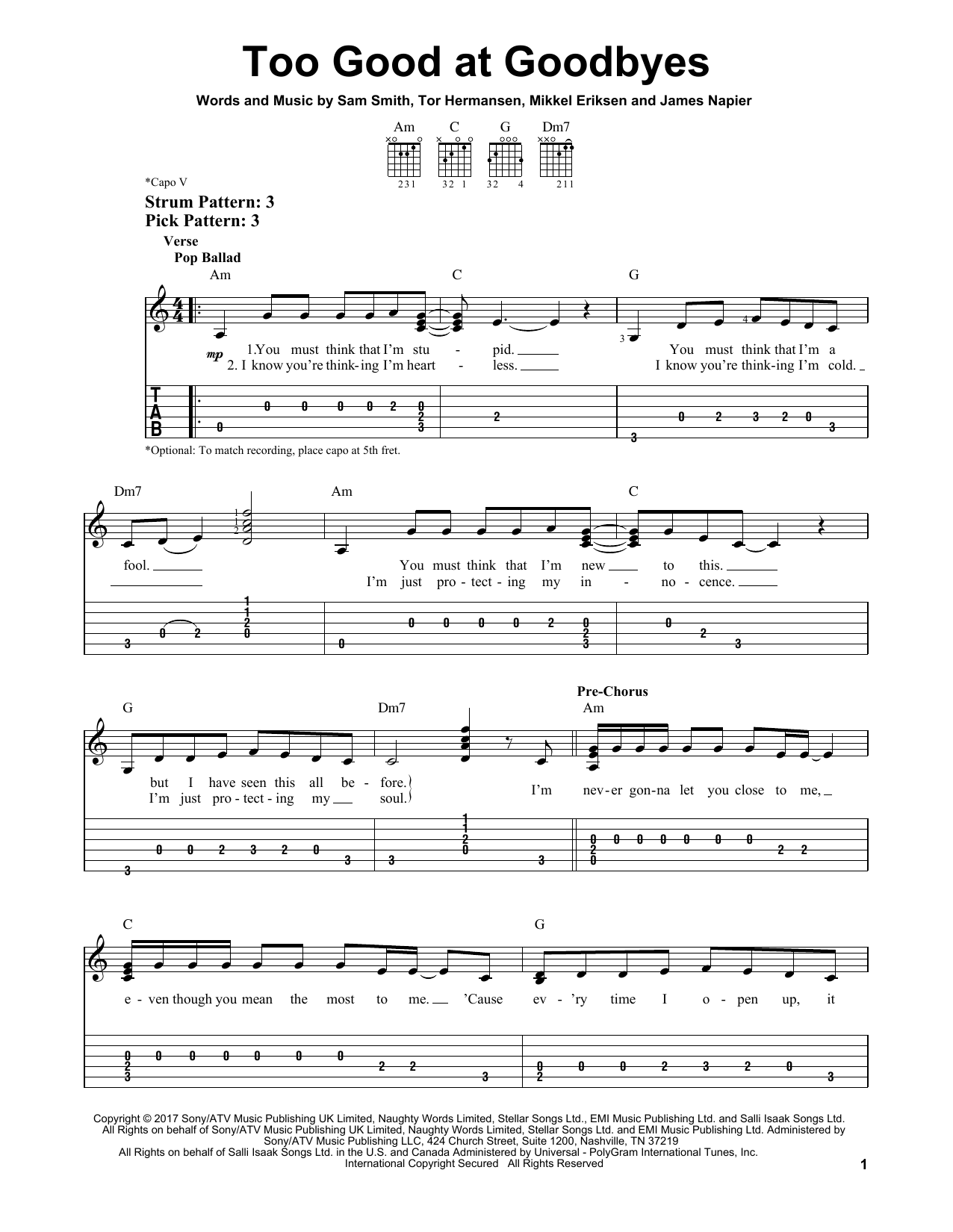 Too Good At Goodbyes (Easy Guitar Tab)