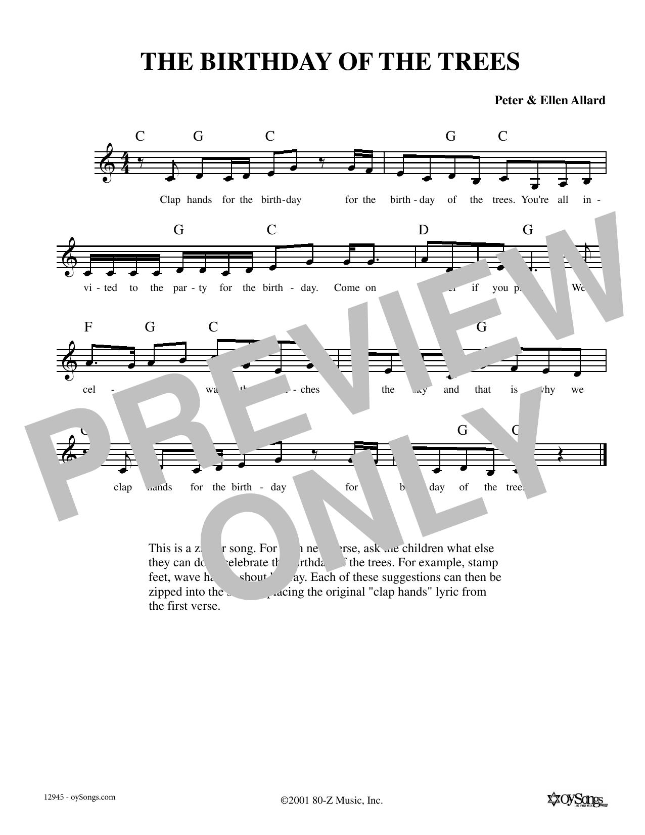Birthday Of The Trees (Melody Line, Lyrics & Chords)