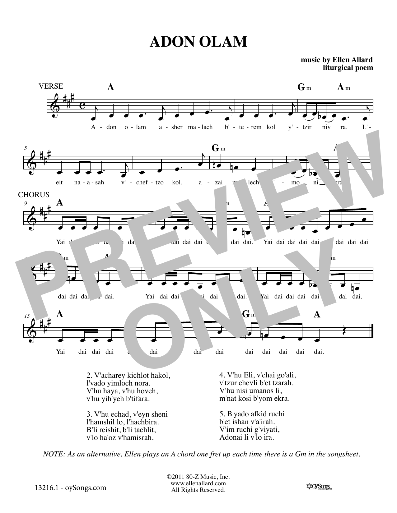 Adon Olam (Melody Line, Lyrics & Chords)