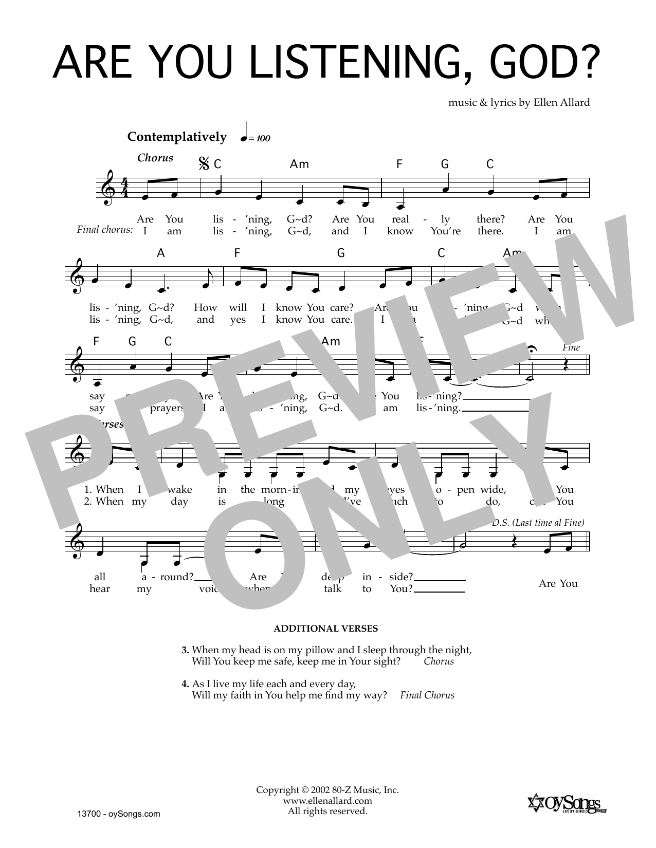 Are You Listening God (Lead Sheet / Fake Book)