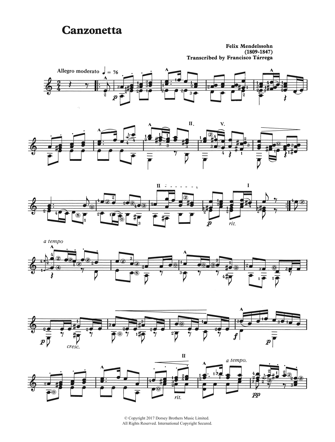 Canzonetta (from The String Quartet, Op. 12) Sheet Music