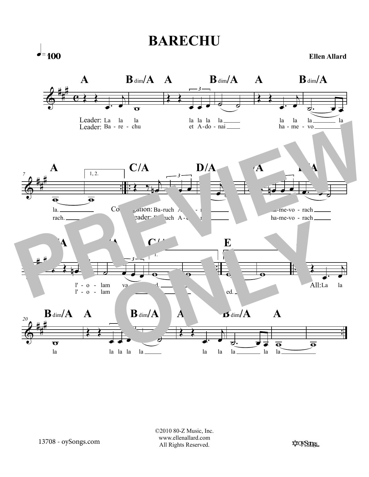 Barechu (Lead Sheet / Fake Book)