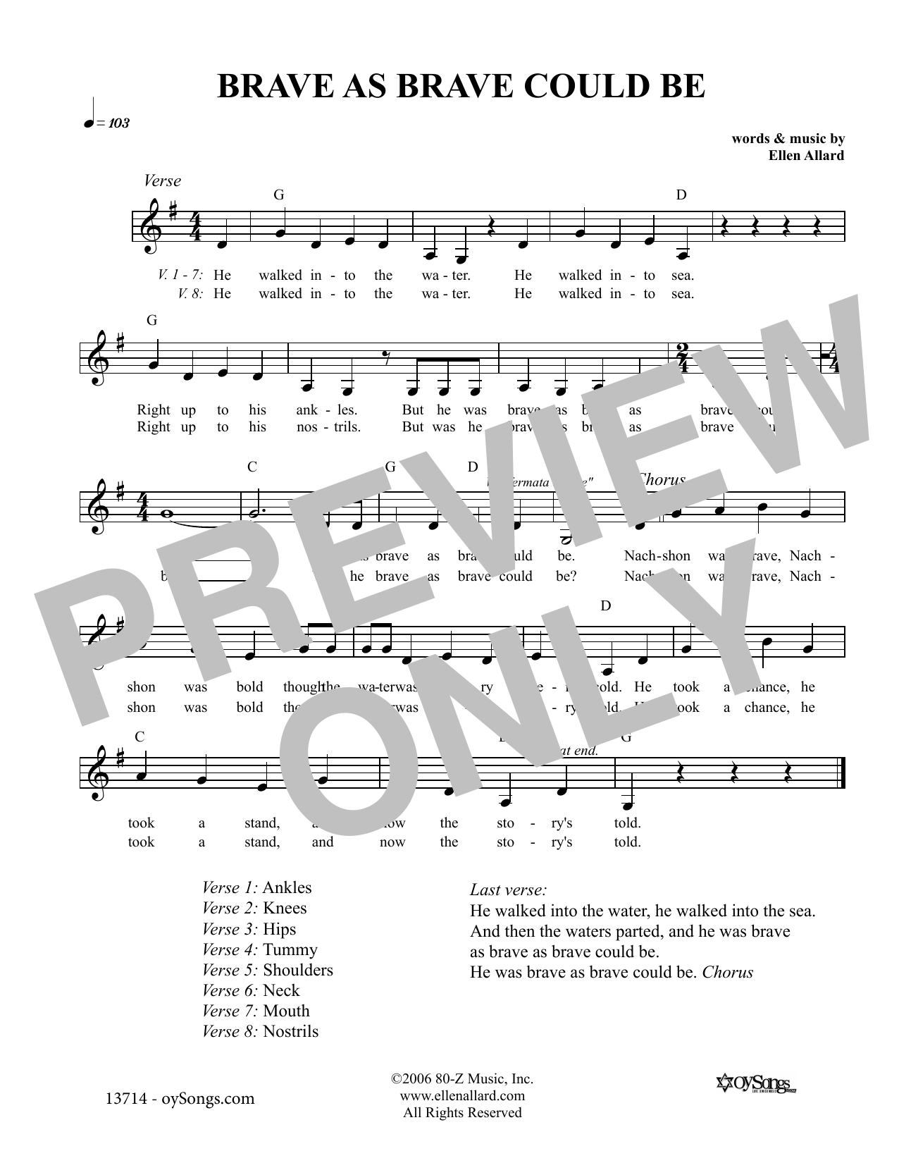 Brave As Brave Could Be Nachshon (Lead Sheet / Fake Book)