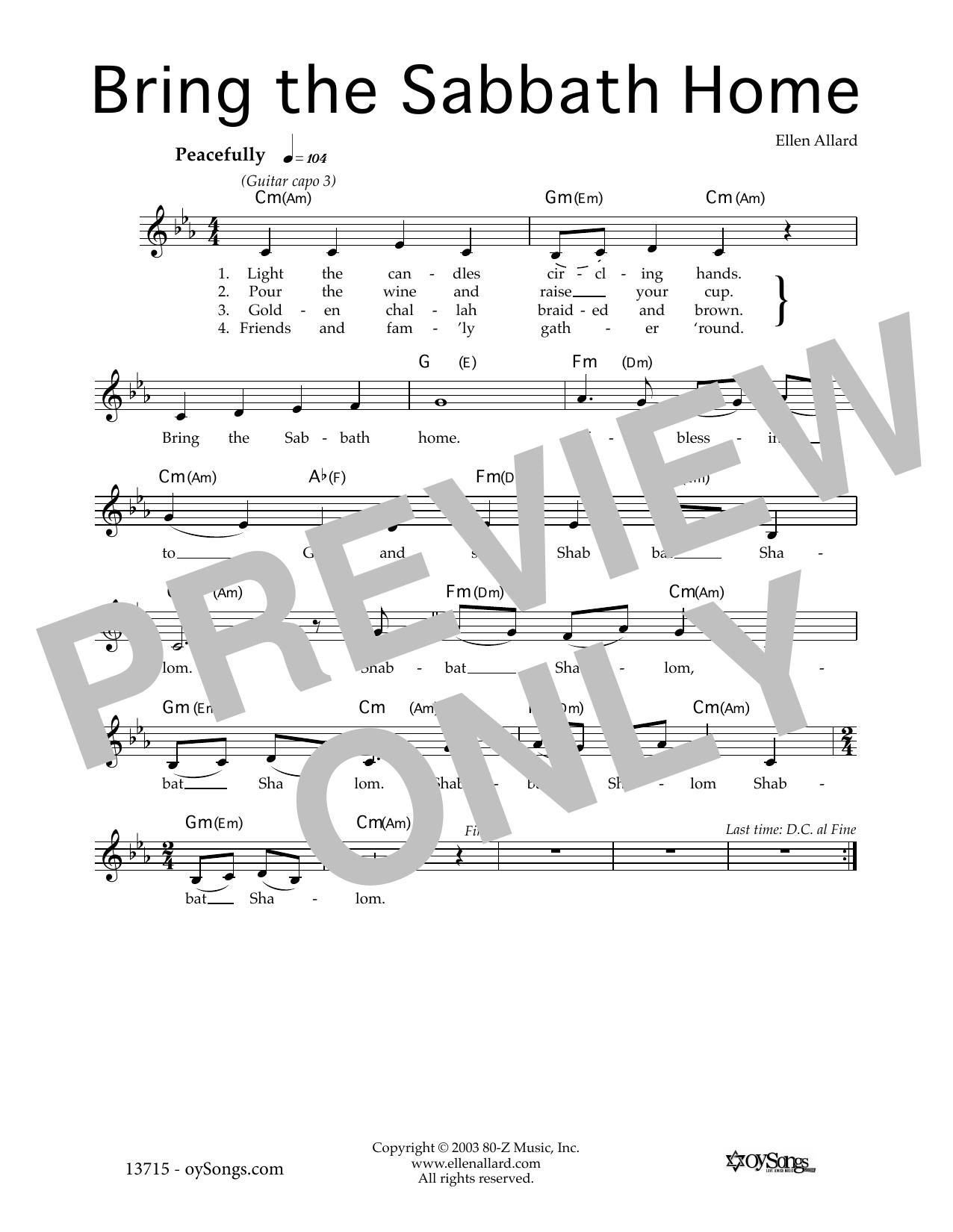 Bring the Sabbath Home Sheet Music