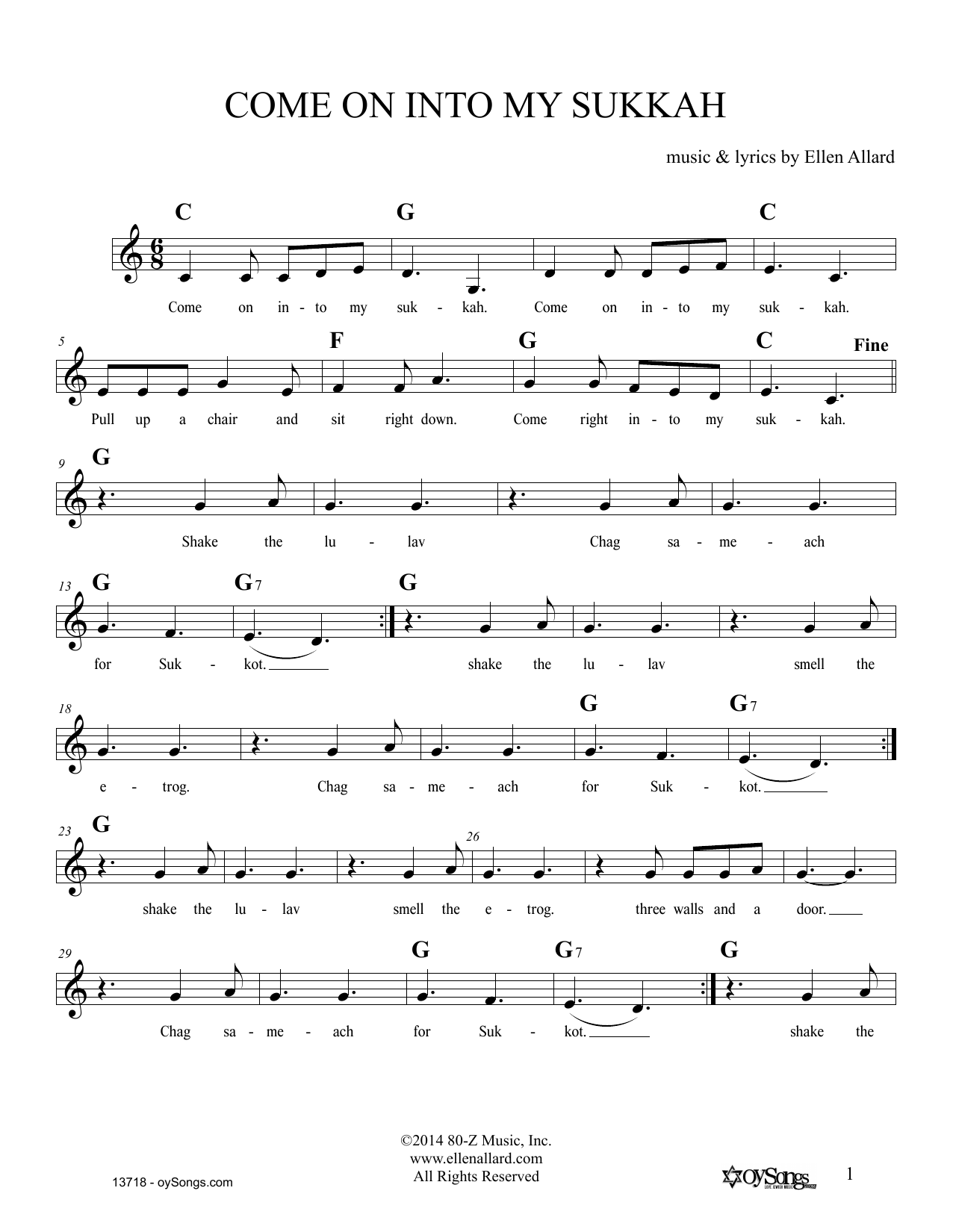 Come On Into My Sukkah (Lead Sheet / Fake Book)