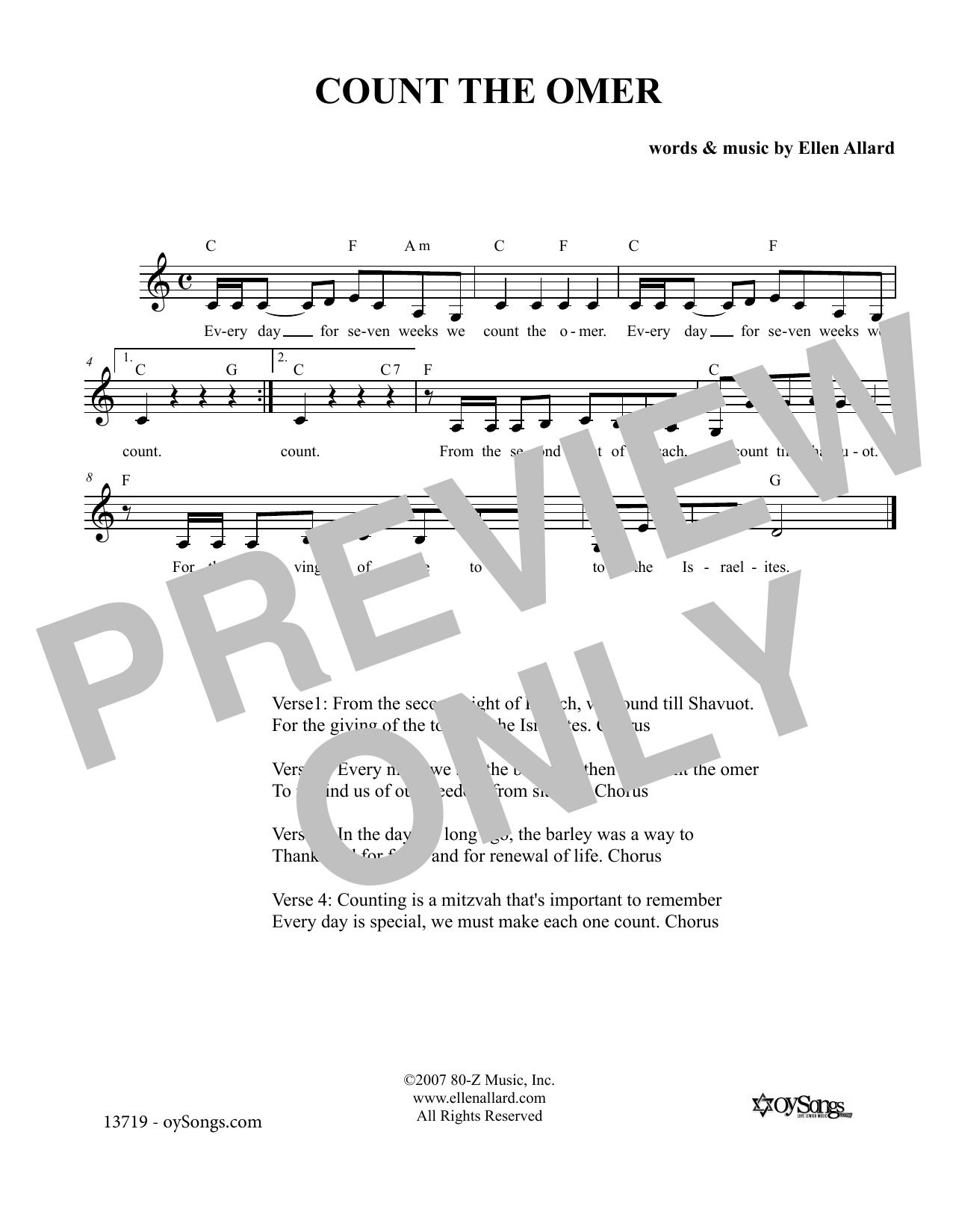 Count the Omer (Lead Sheet / Fake Book)