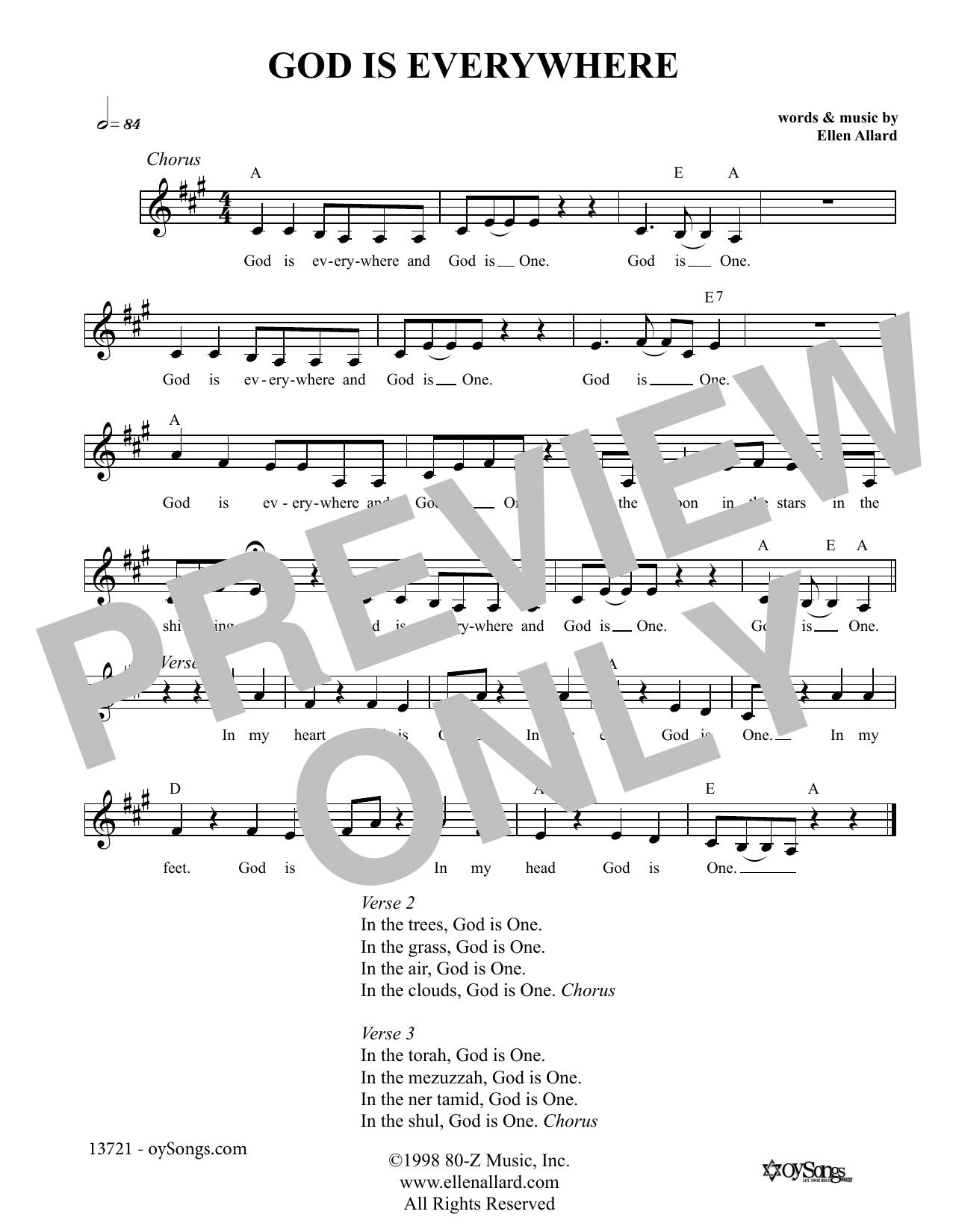 God is Everywhere (Melody Line, Lyrics & Chords)