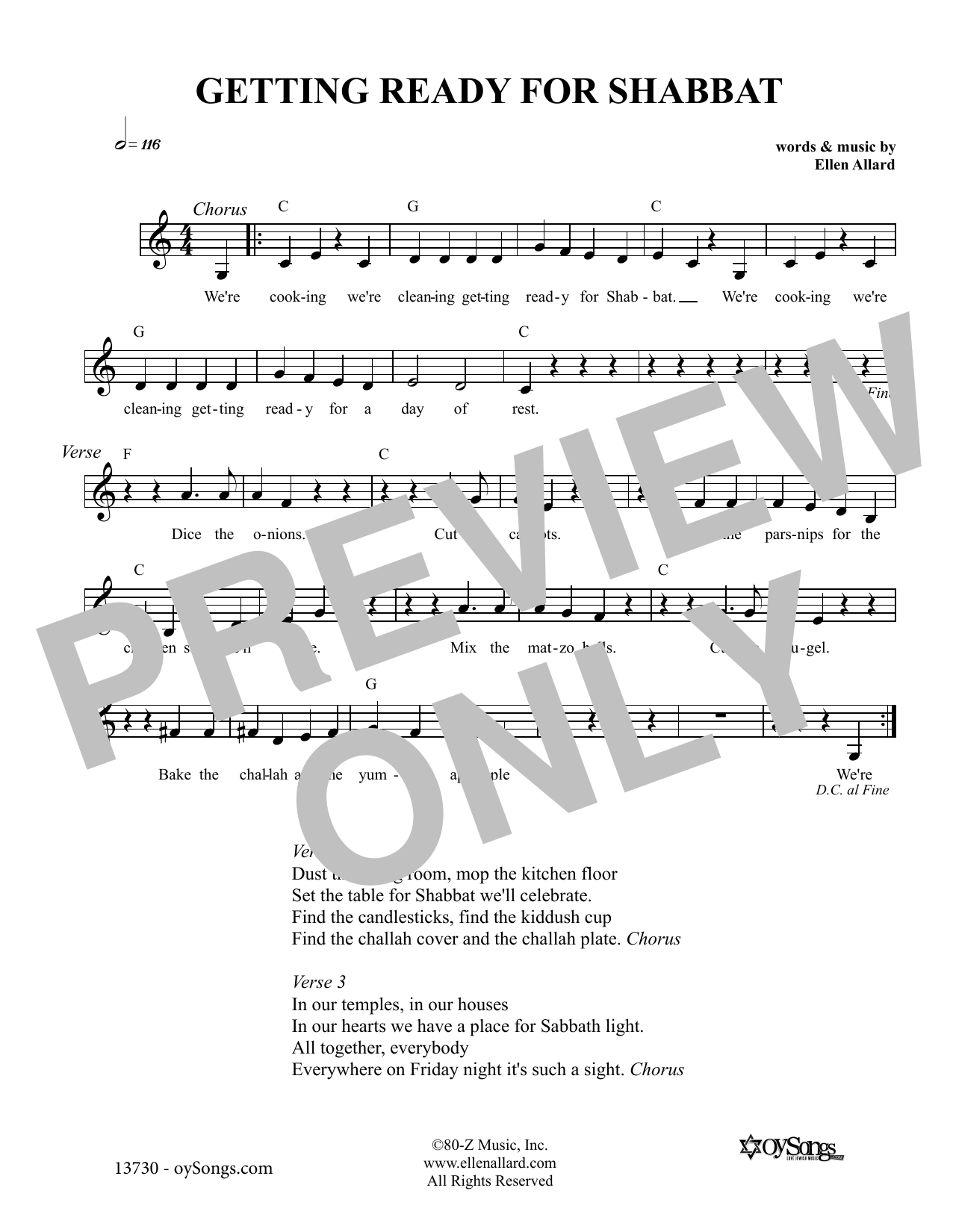 Getting Ready For Shabbat (Lead Sheet / Fake Book)