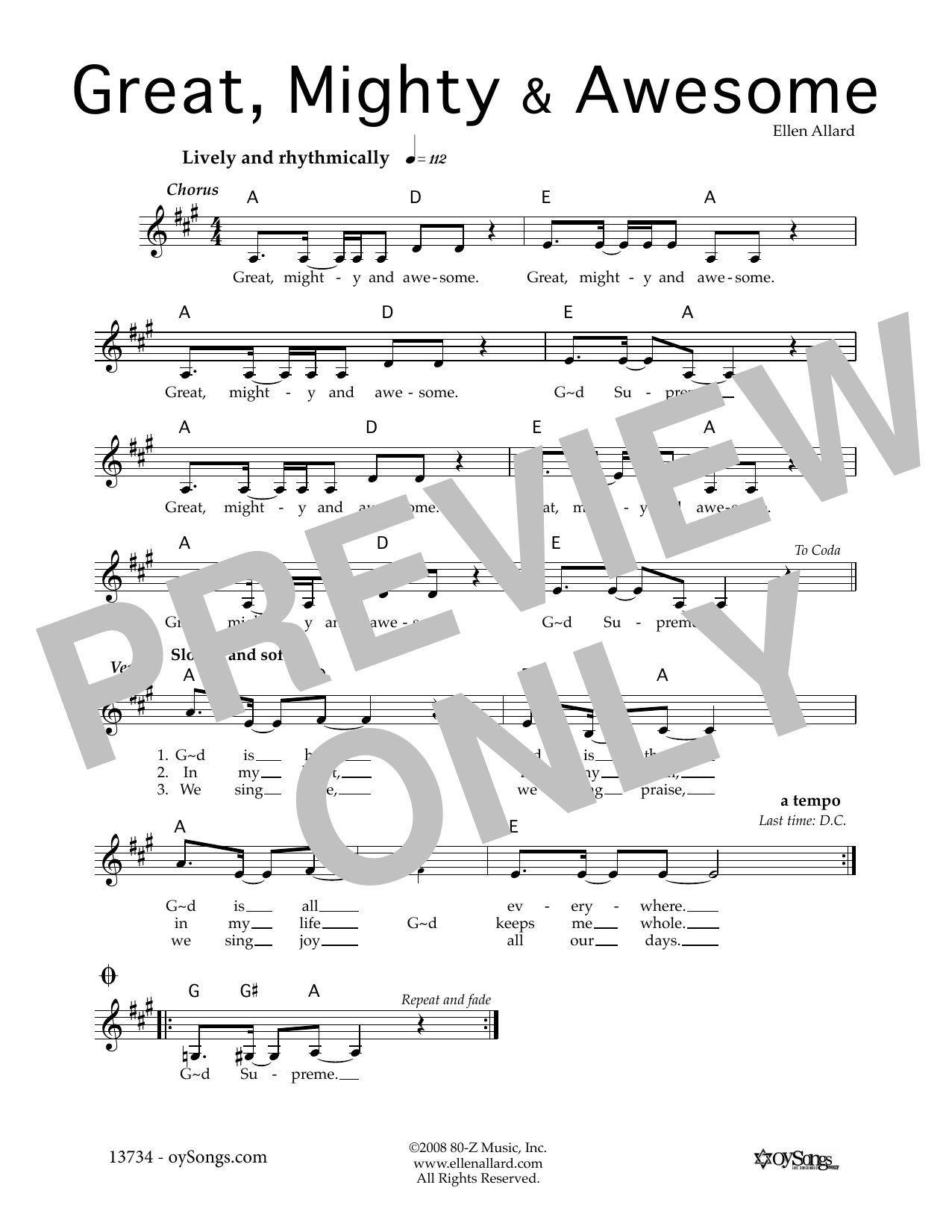 Great Mighty and Awesome (Lead Sheet / Fake Book)