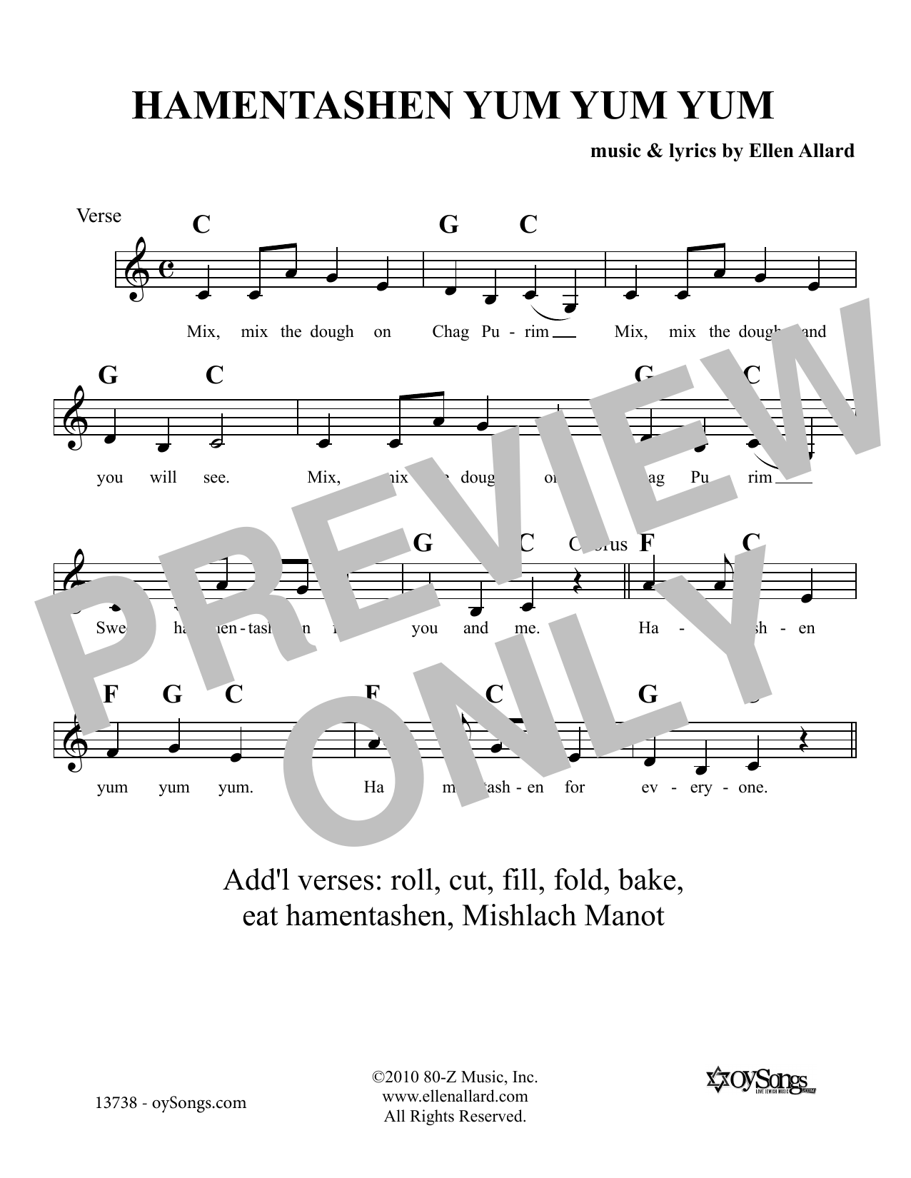 Hamentashen Yum Yum Yum (Lead Sheet / Fake Book)