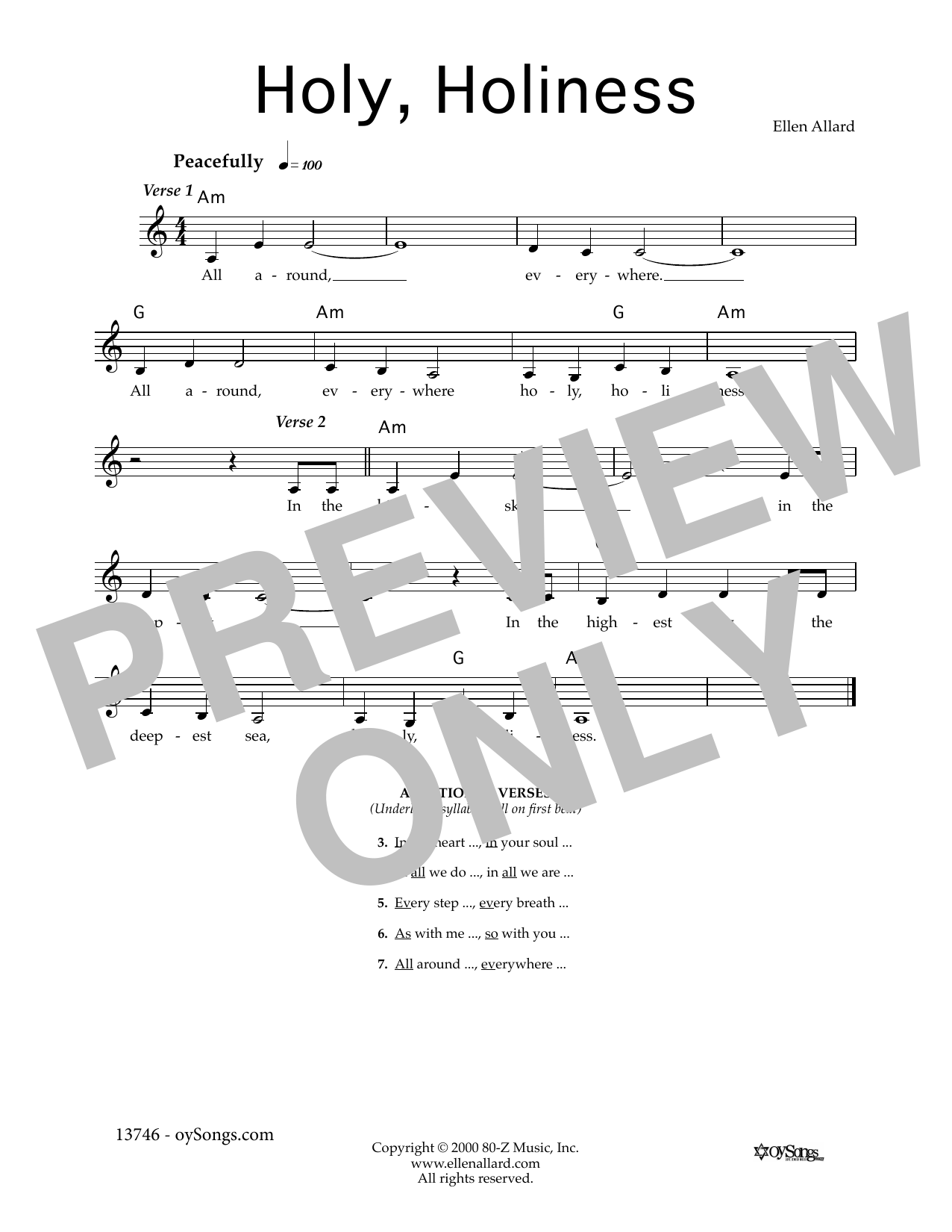 Holy, Holiness Sheet Music