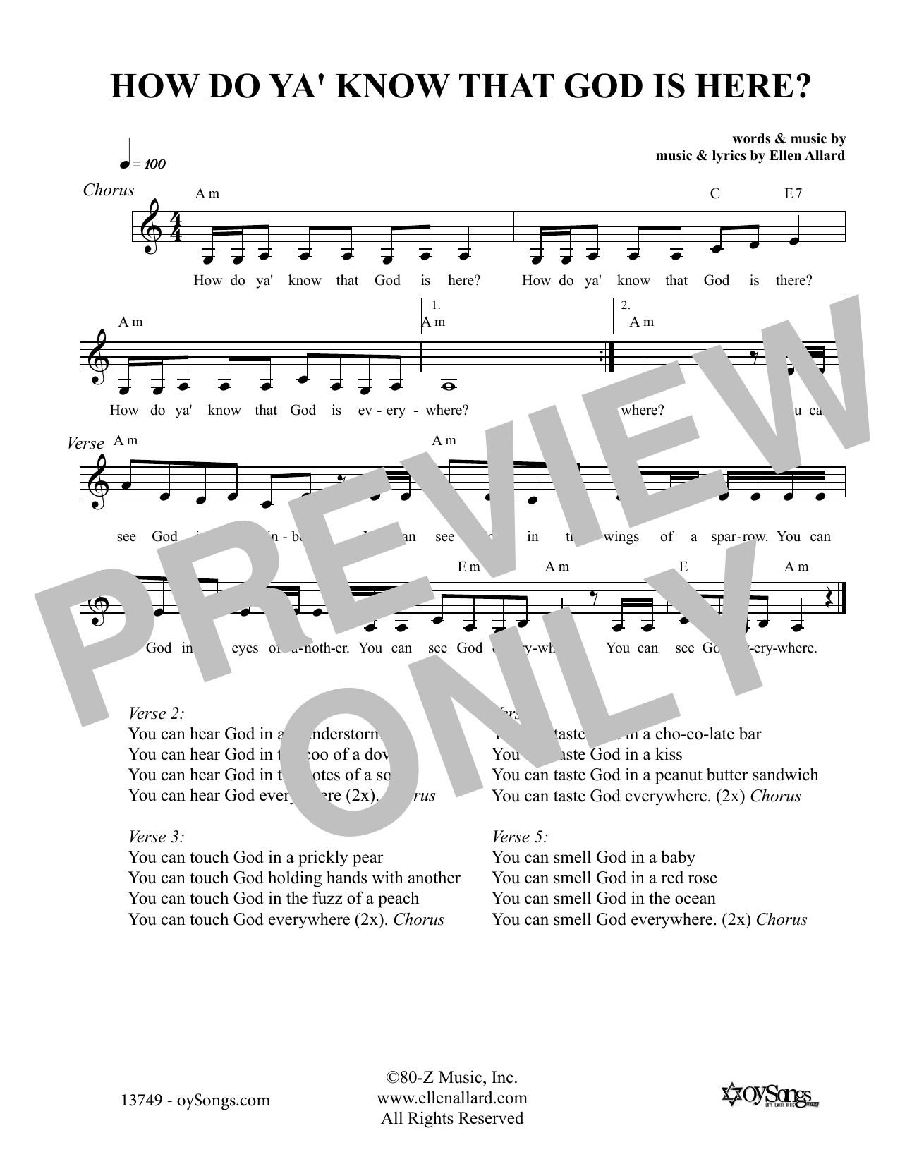 How Do You Know That God Is Here (Melody Line, Lyrics & Chords)