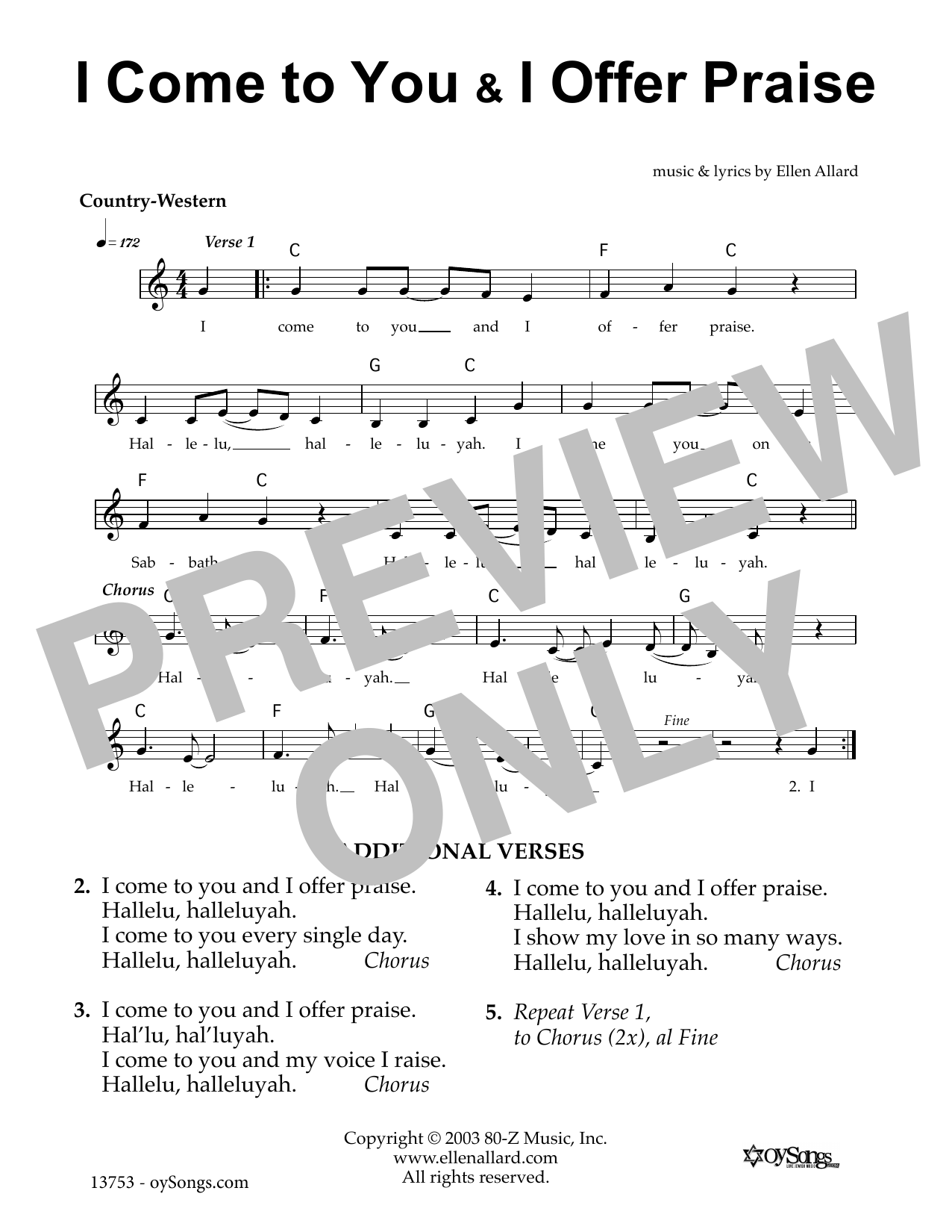 I Come To You Offer Praise (Lead Sheet / Fake Book)