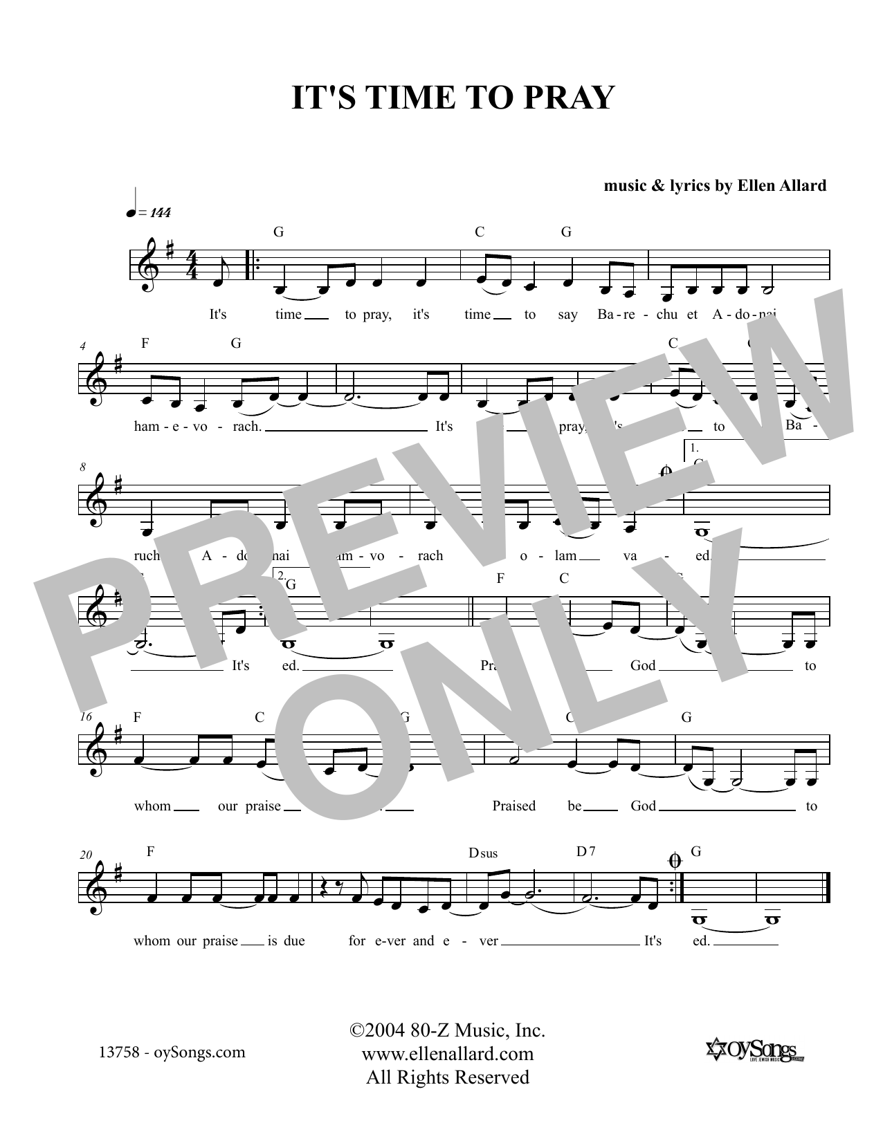 It's Time To Pray (Lead Sheet / Fake Book)