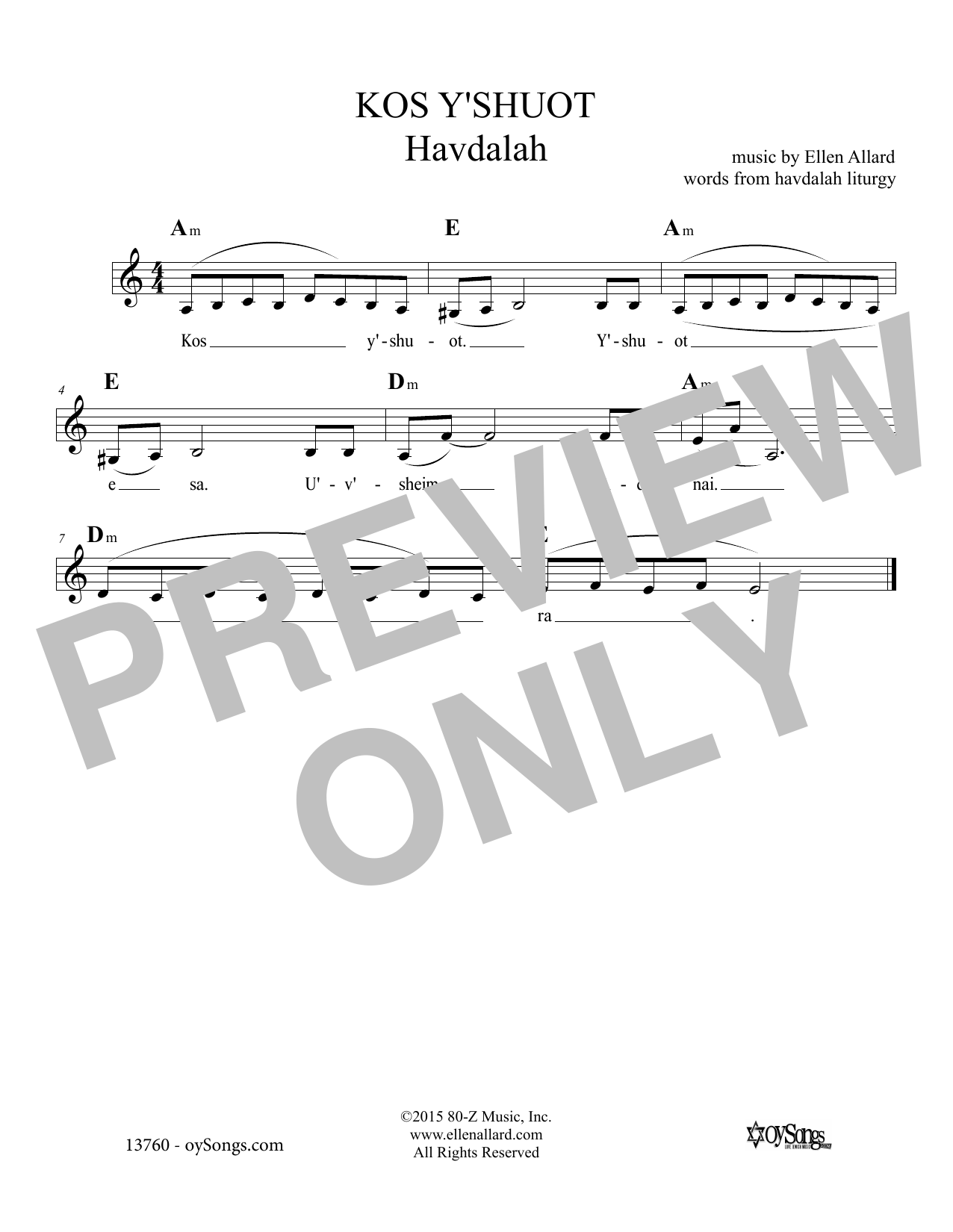 Kos Y'shuot (Lead Sheet / Fake Book)