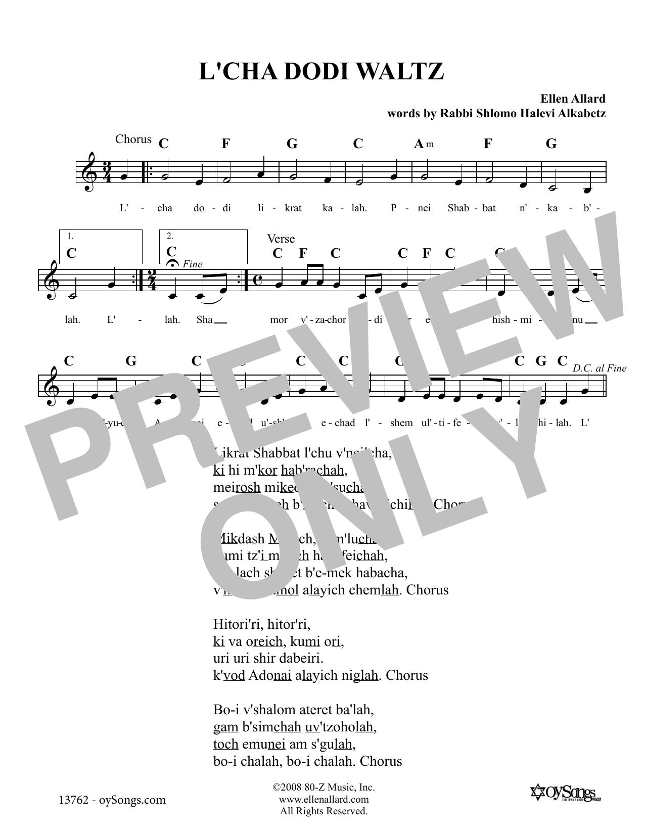 L'cha Dodi Waltz (Lead Sheet / Fake Book)