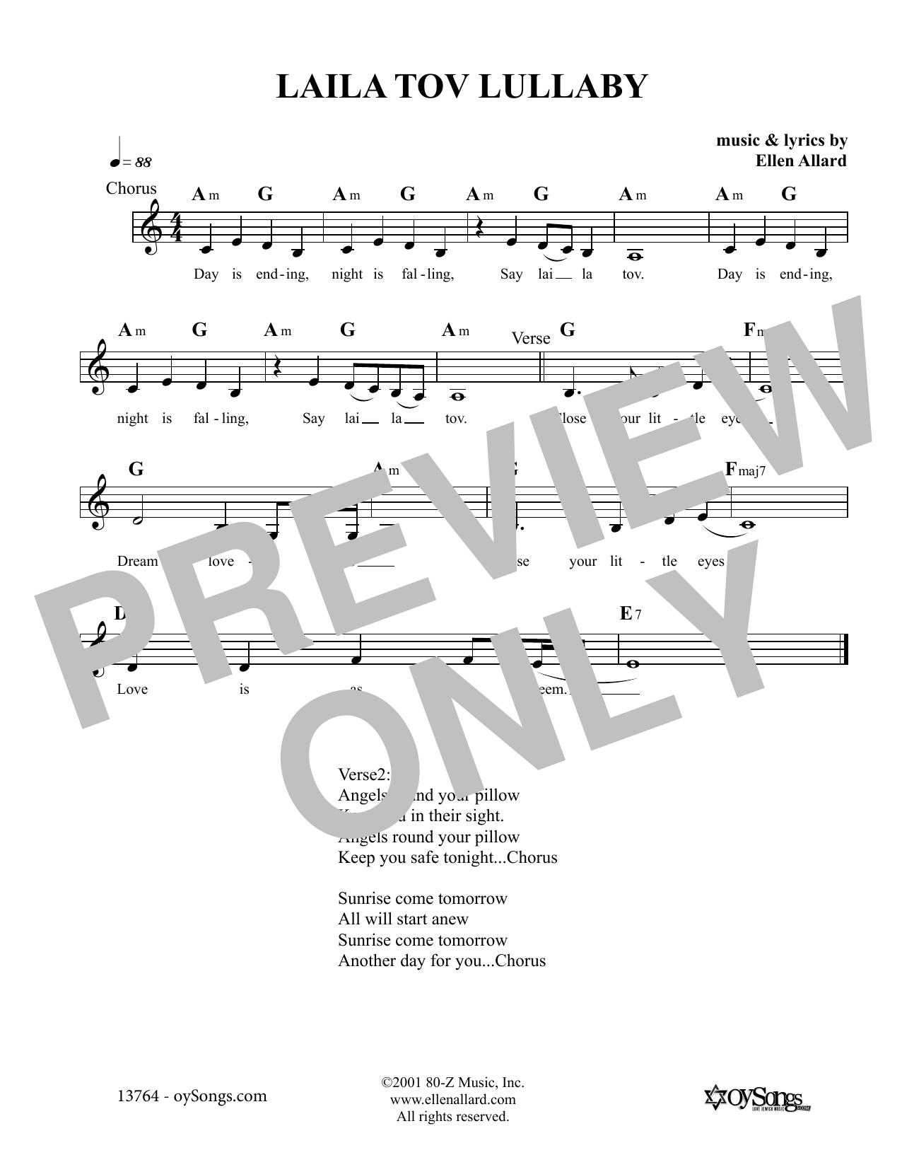 Laila Tov Lullaby Sheet Music