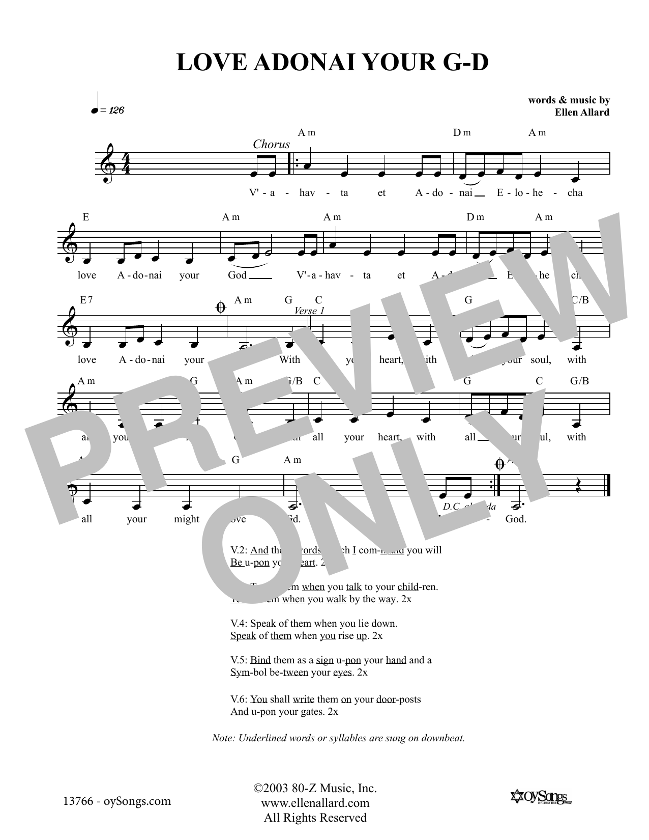 Love Adonai Your God (Lead Sheet / Fake Book)