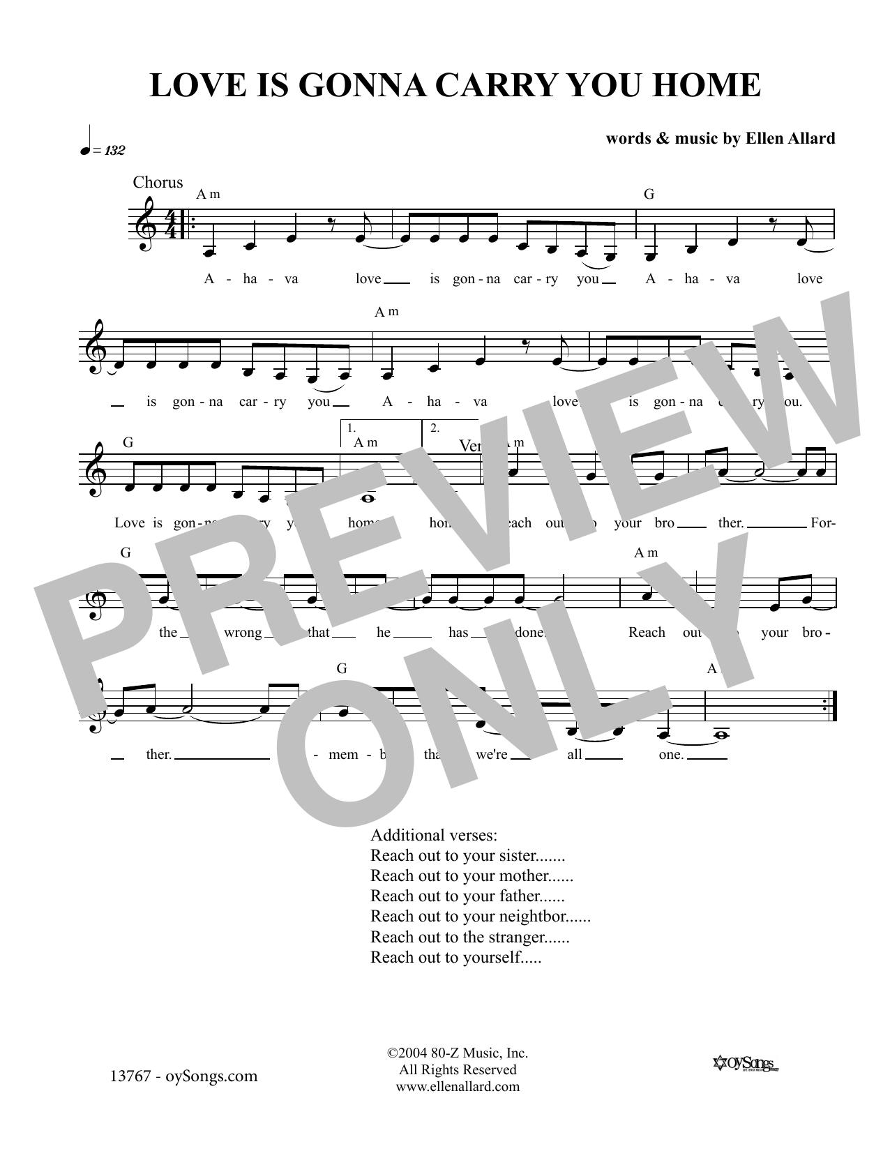 Love Is Gonna Carry You (Lead Sheet / Fake Book)