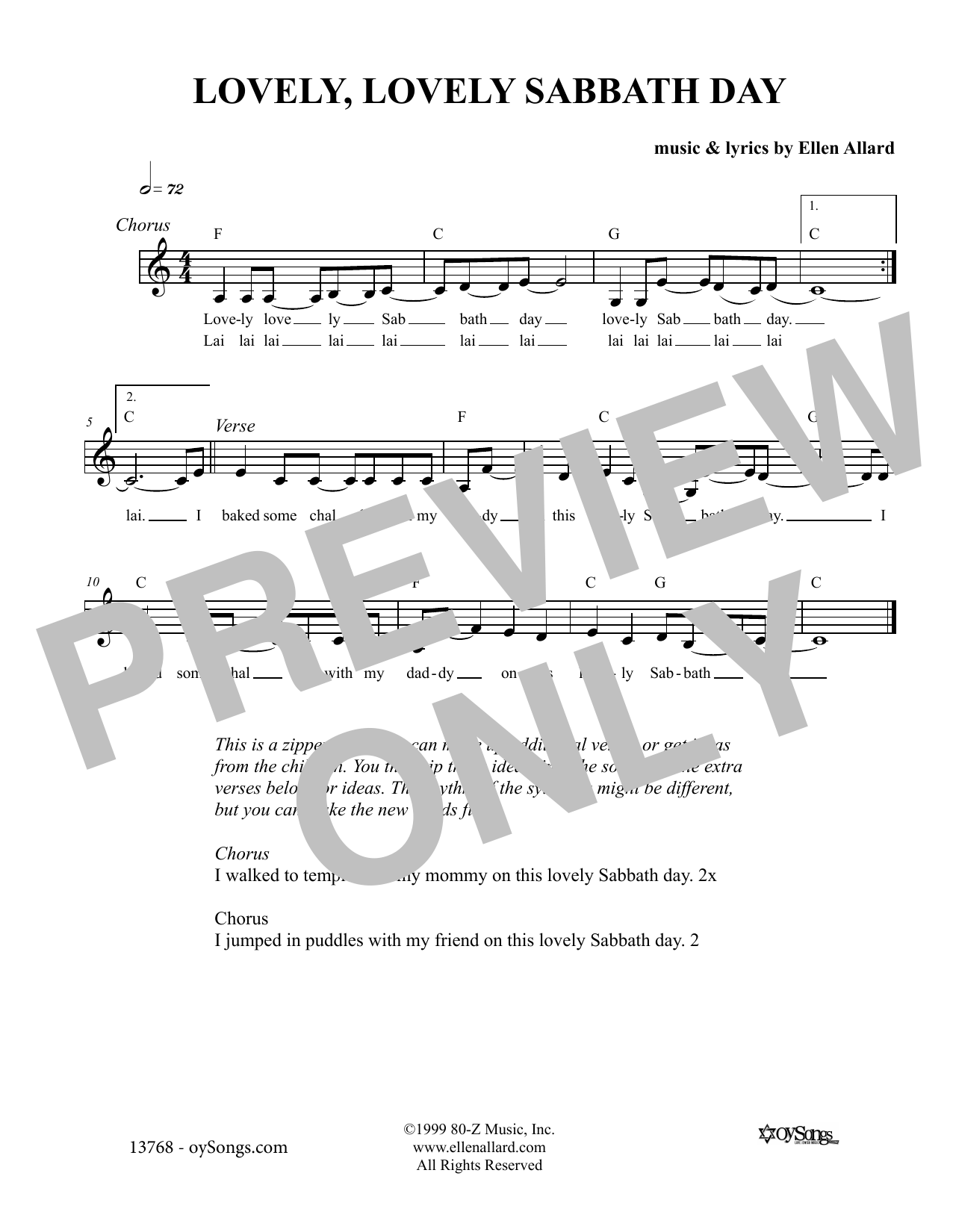 Lovely Lovely Sabbath Day (Lead Sheet / Fake Book)