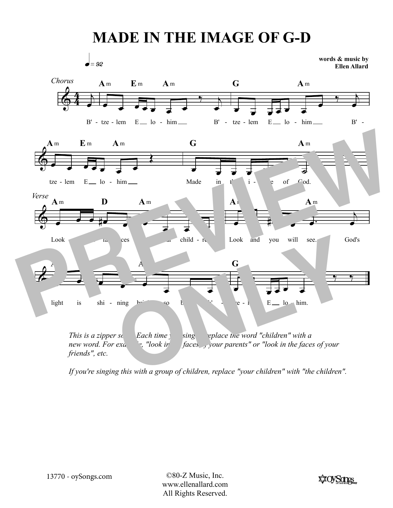 Made In The Image Of God (Lead Sheet / Fake Book)
