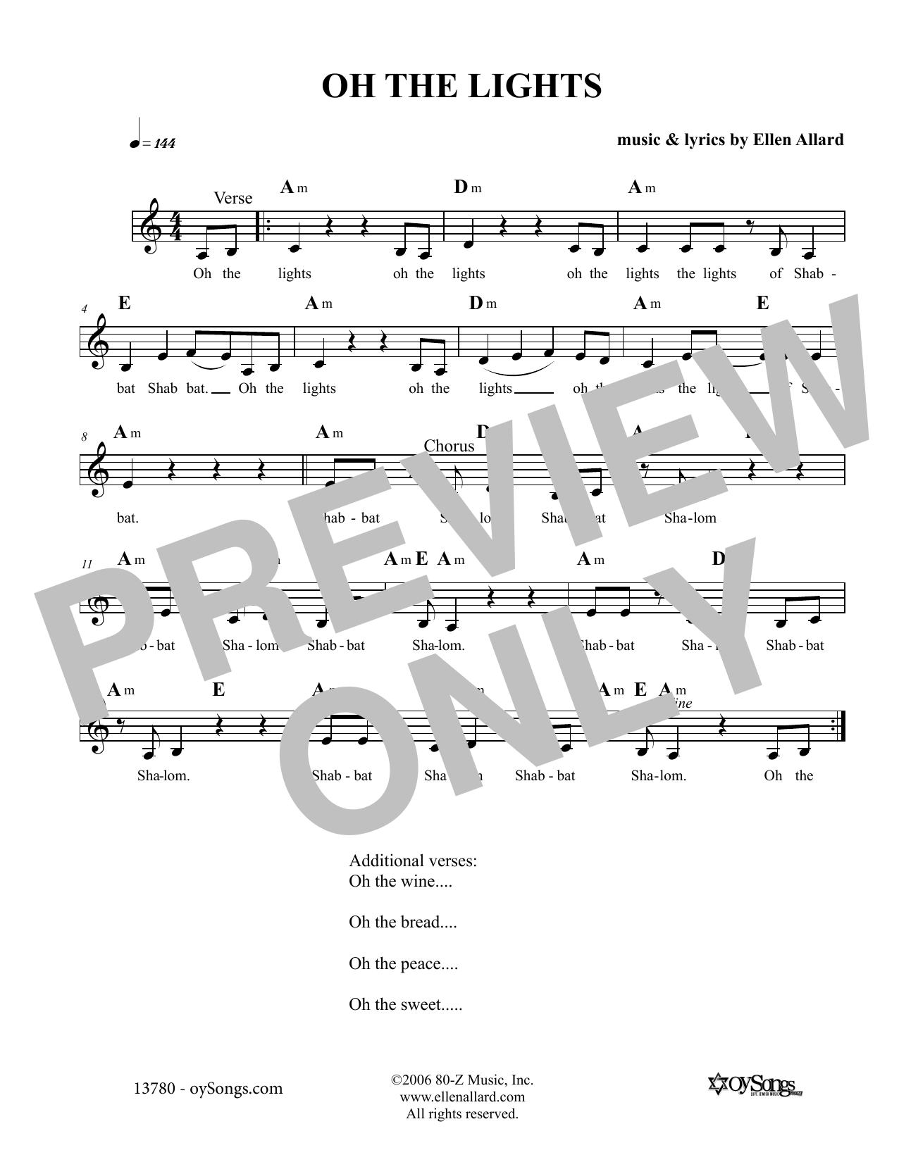 Oh The Lights (Lead Sheet / Fake Book)