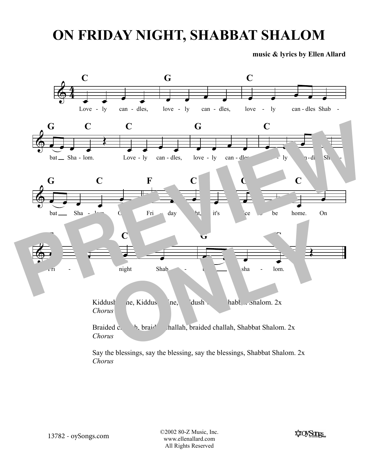 On Friday Night Shabbat Shalom Sheet Music
