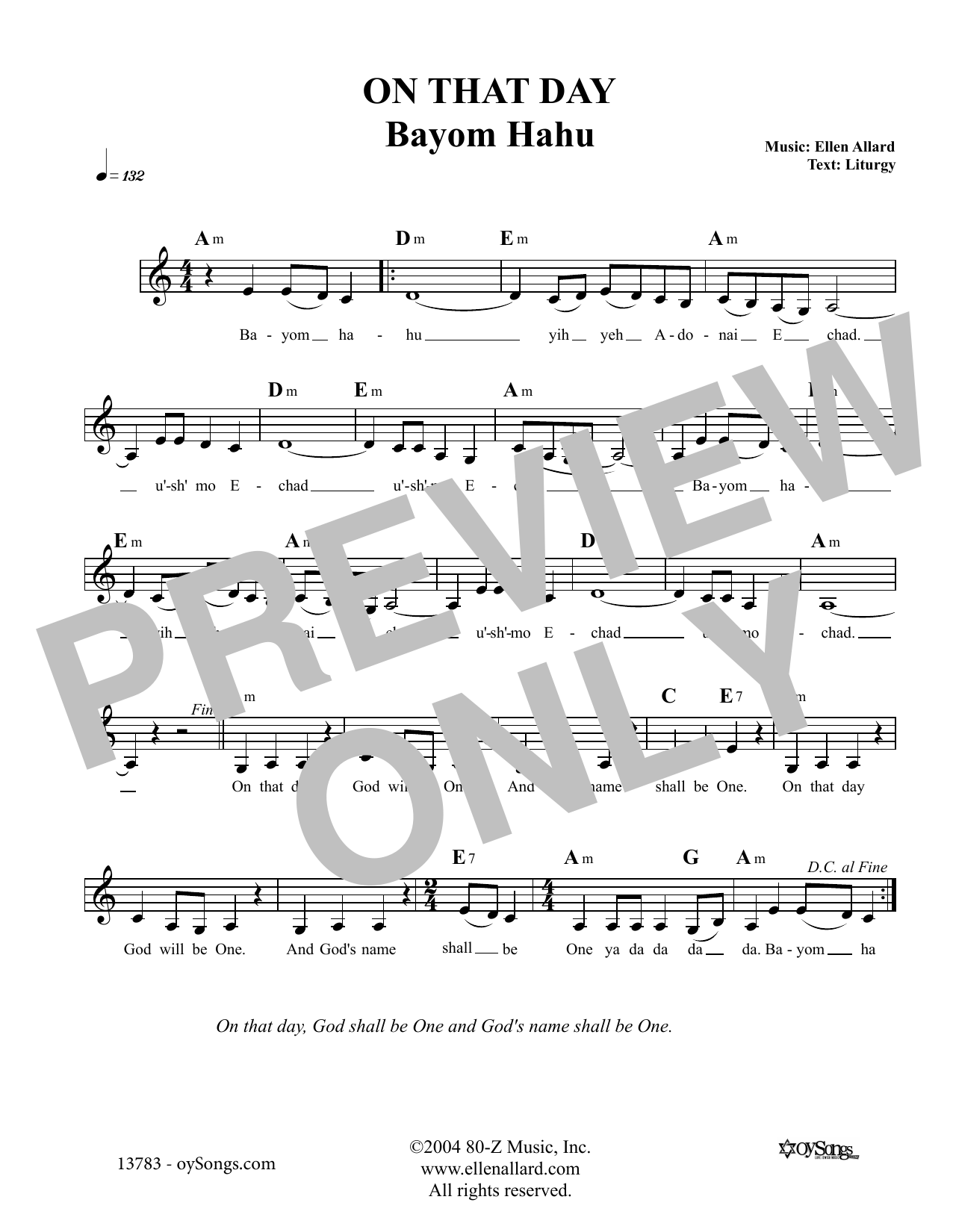 On That Day (Lead Sheet / Fake Book)